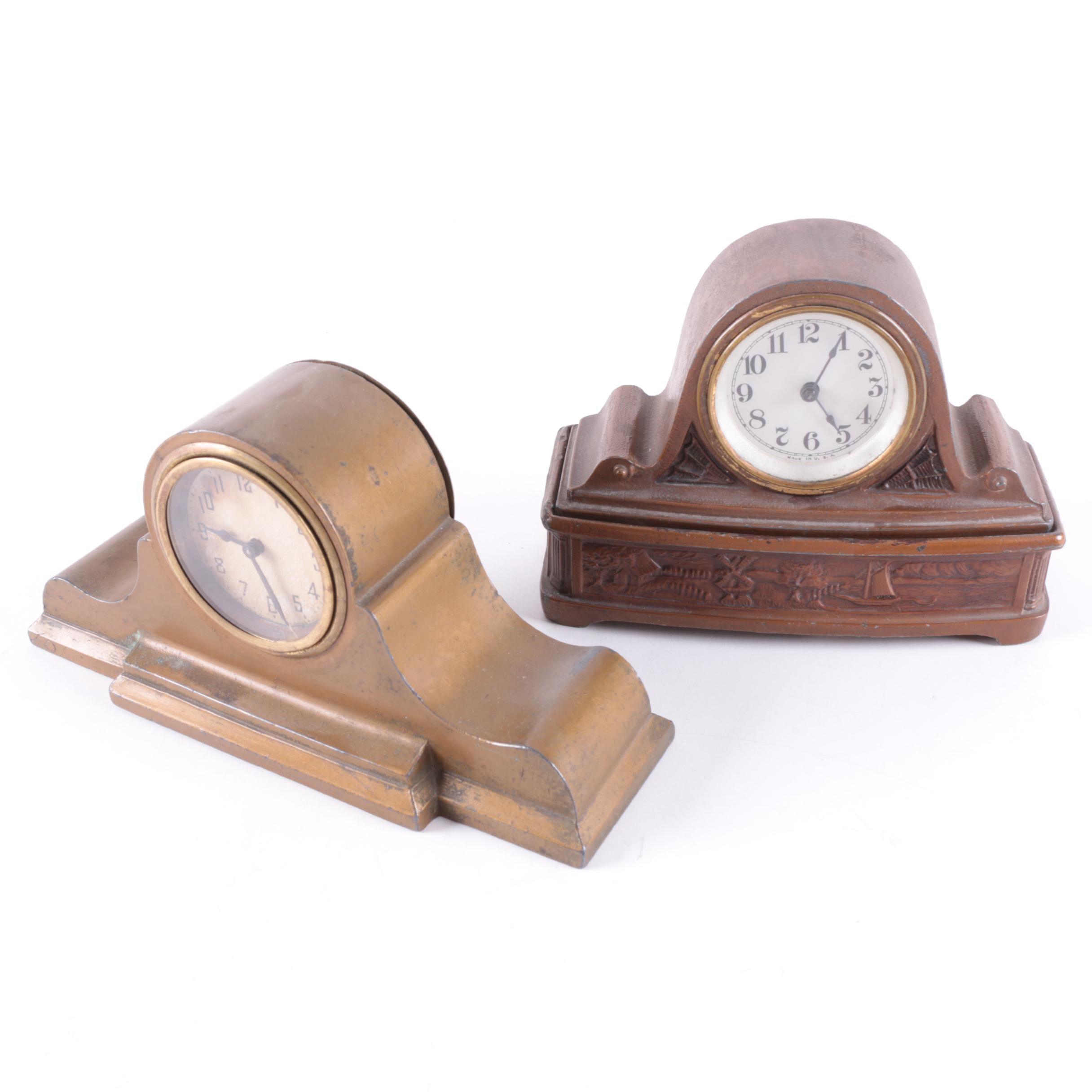Vintage Cast Metal Tambour Style Mantel Clocks including New Haven