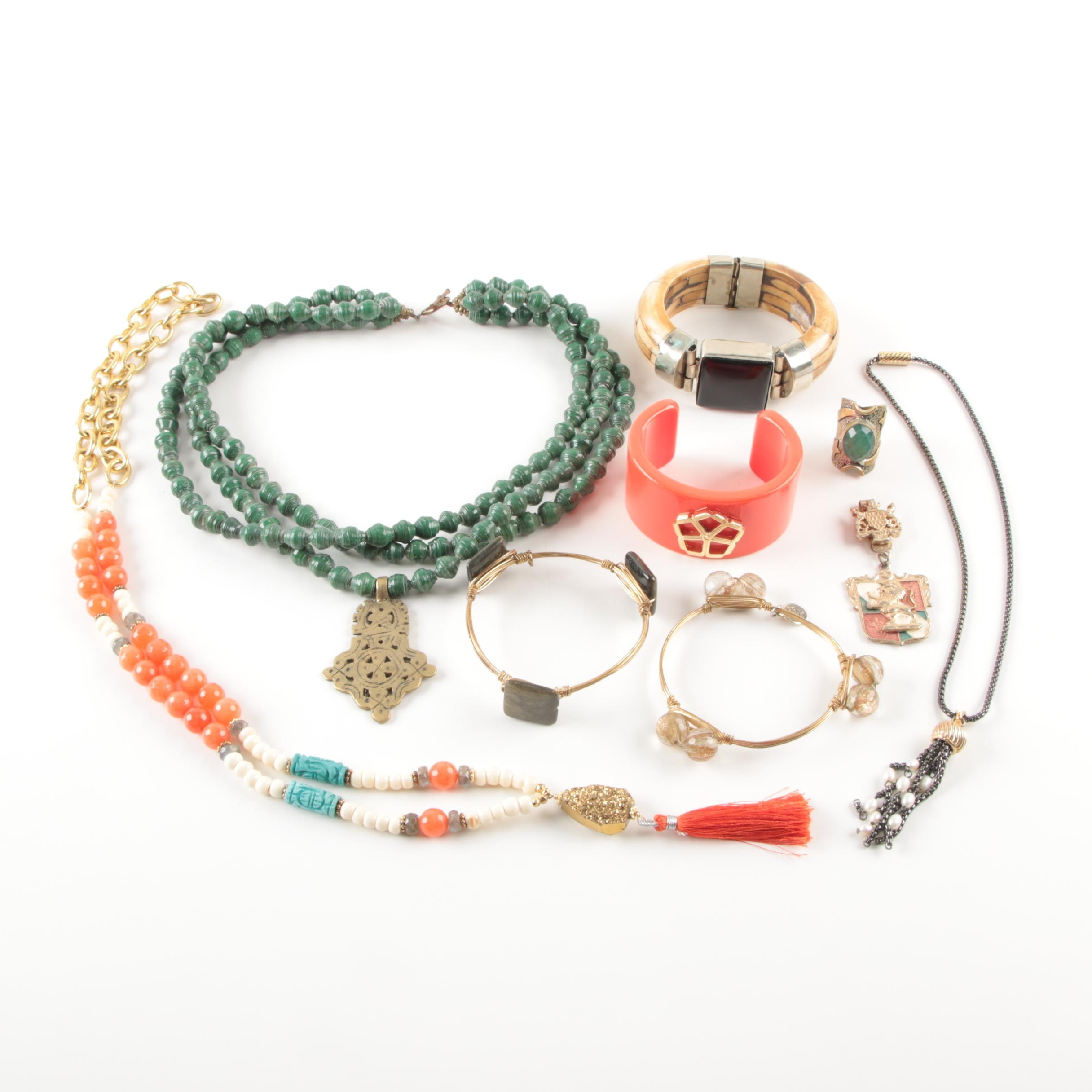 Selection of Costume Jewelry Including a Trina Turk Bracelet