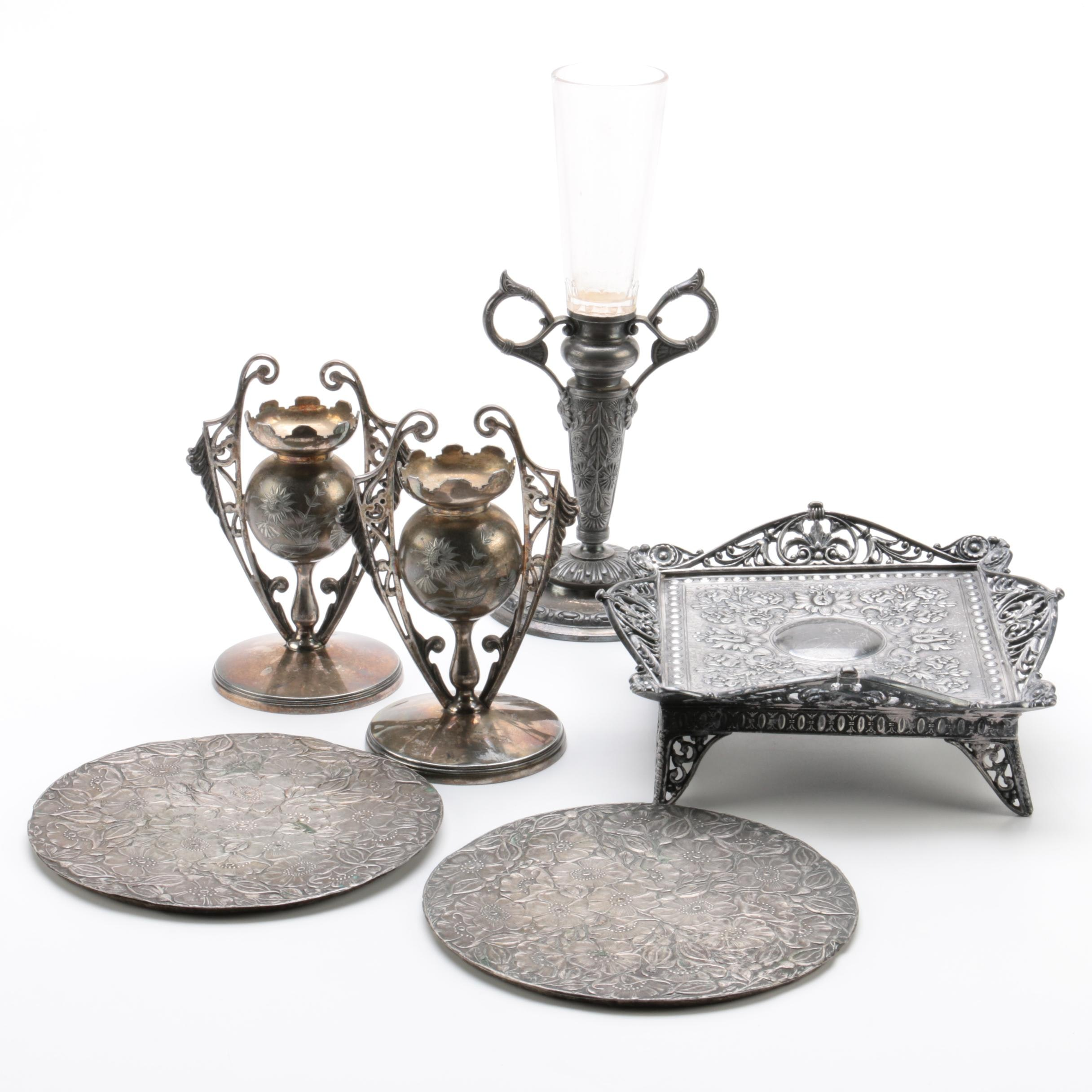 Wilcox Silver Company Silver Plate Candle Holders and Other Home Decor