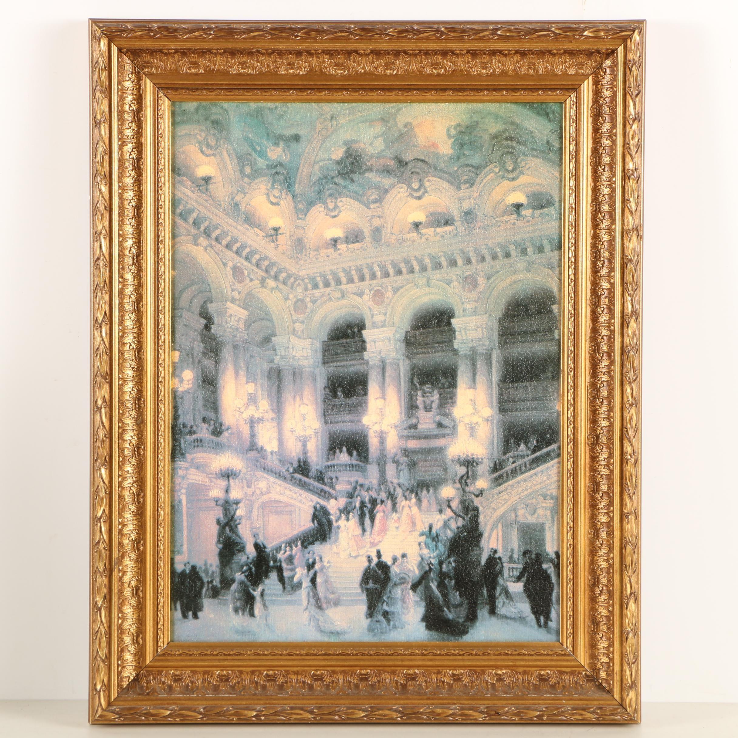 """Offset Lithograph After Jean Beraud """"Opéra de Paris, le Grand Escalier"""""""