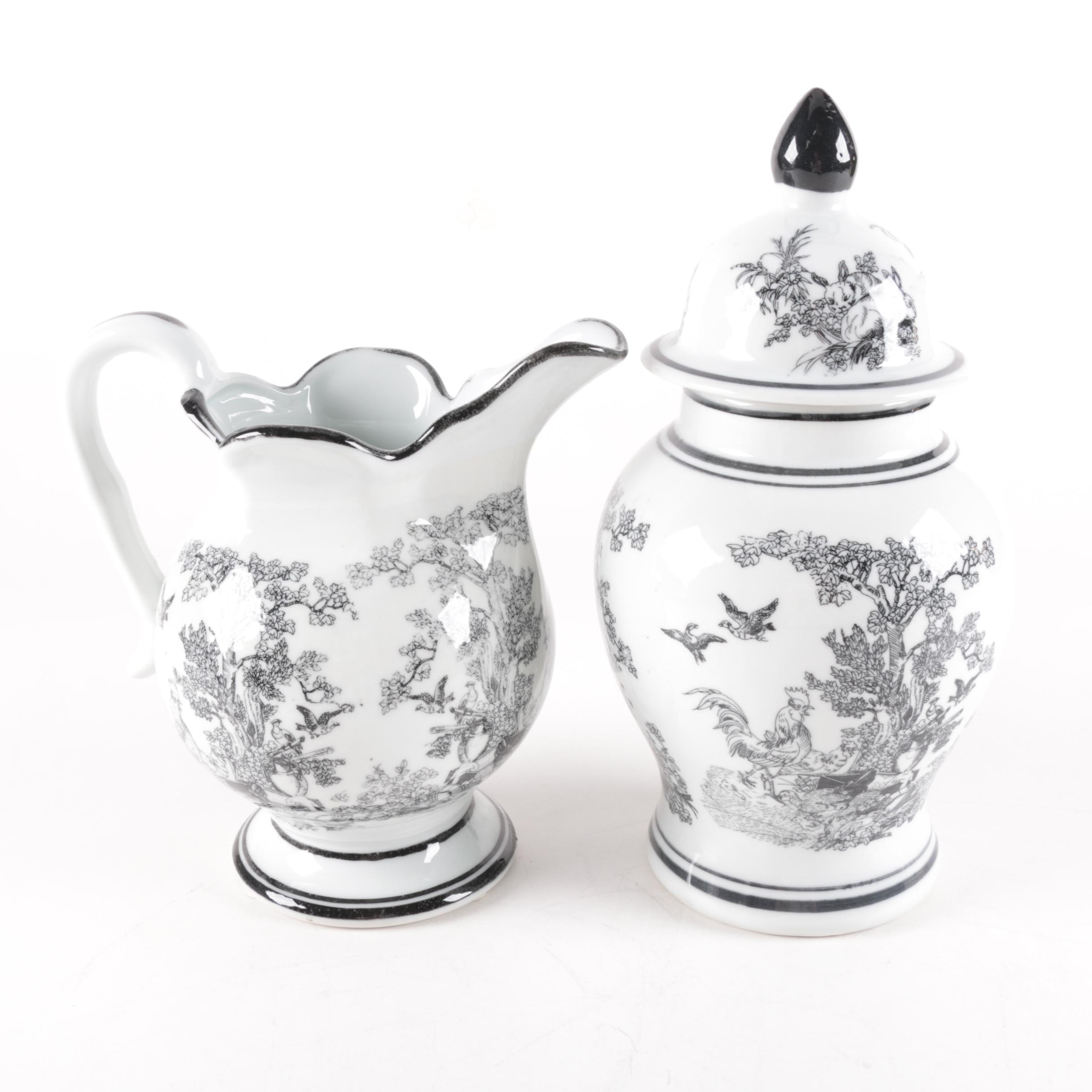 Chinese Pitcher and Ginger Jar