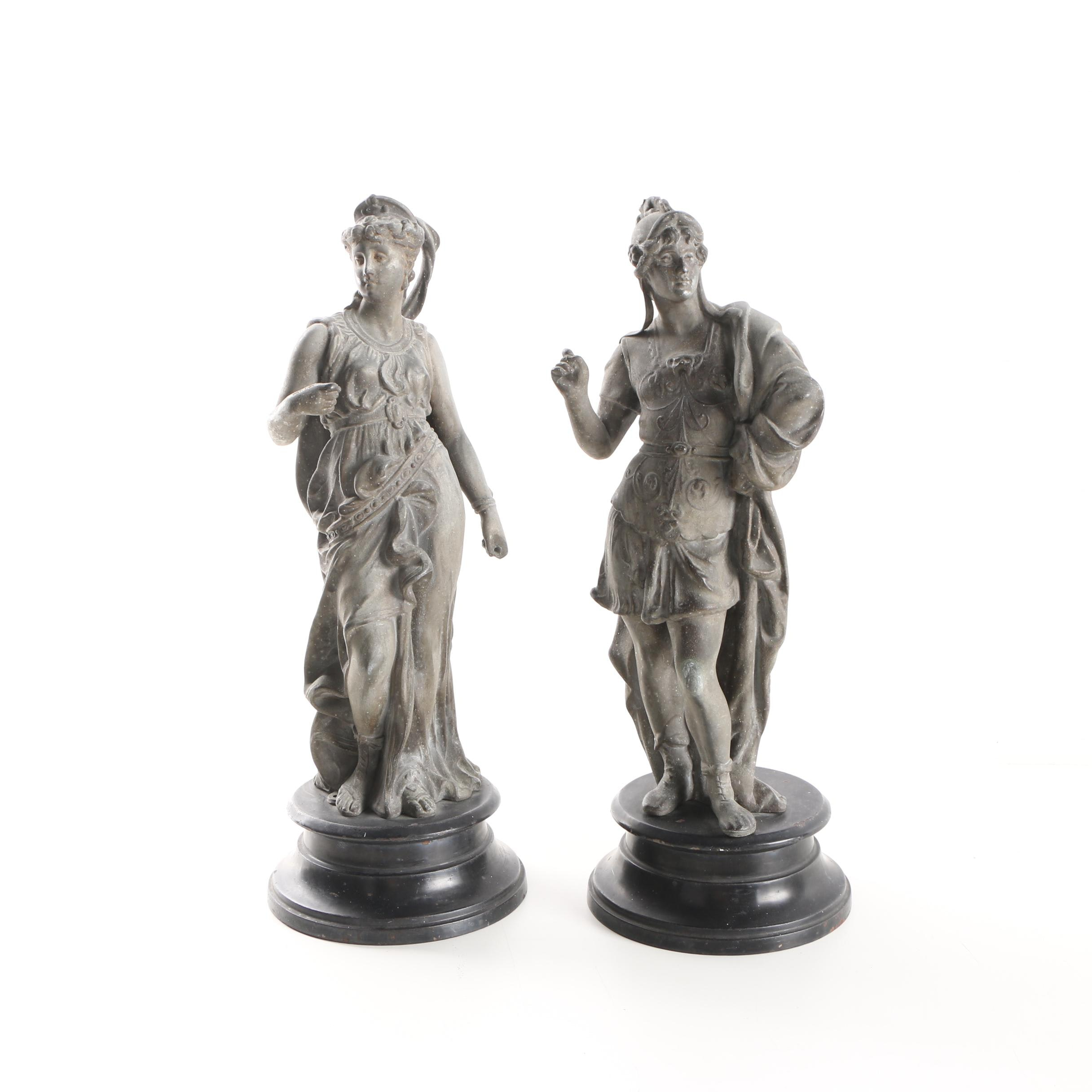 Silver Tone Metal Sculptures of Greco-Roman Style Figures