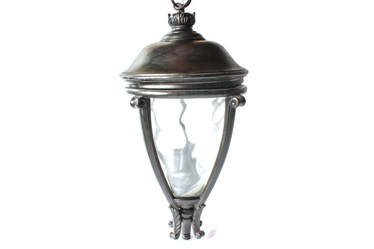 Cast Iron and Glass Portico Hanging Fixture