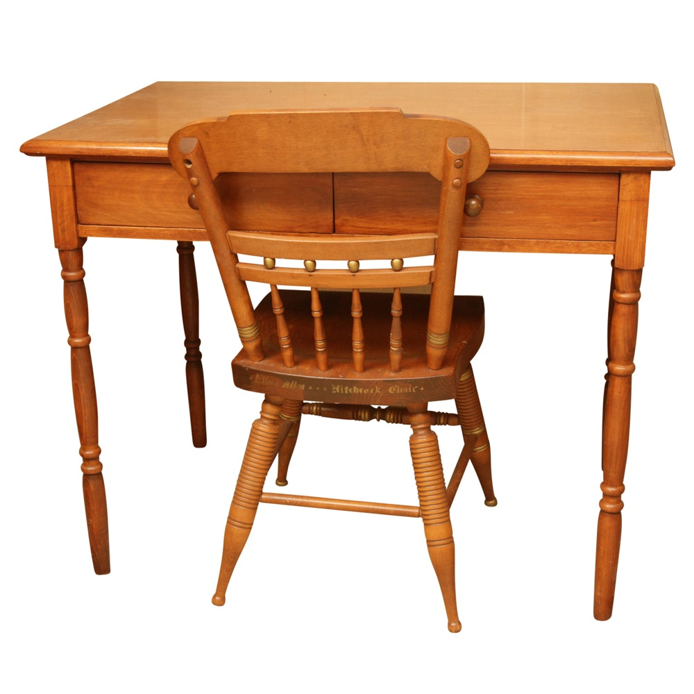 "Vintage Maple Desk with Ethan Allen ""Hitchcock"" Chair"