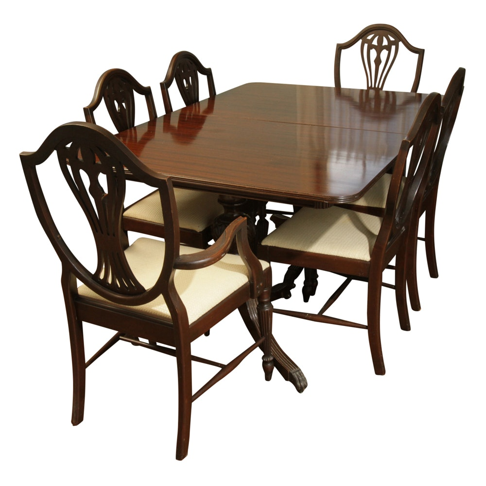 Hepplewhite Style Dining Table and Chairs