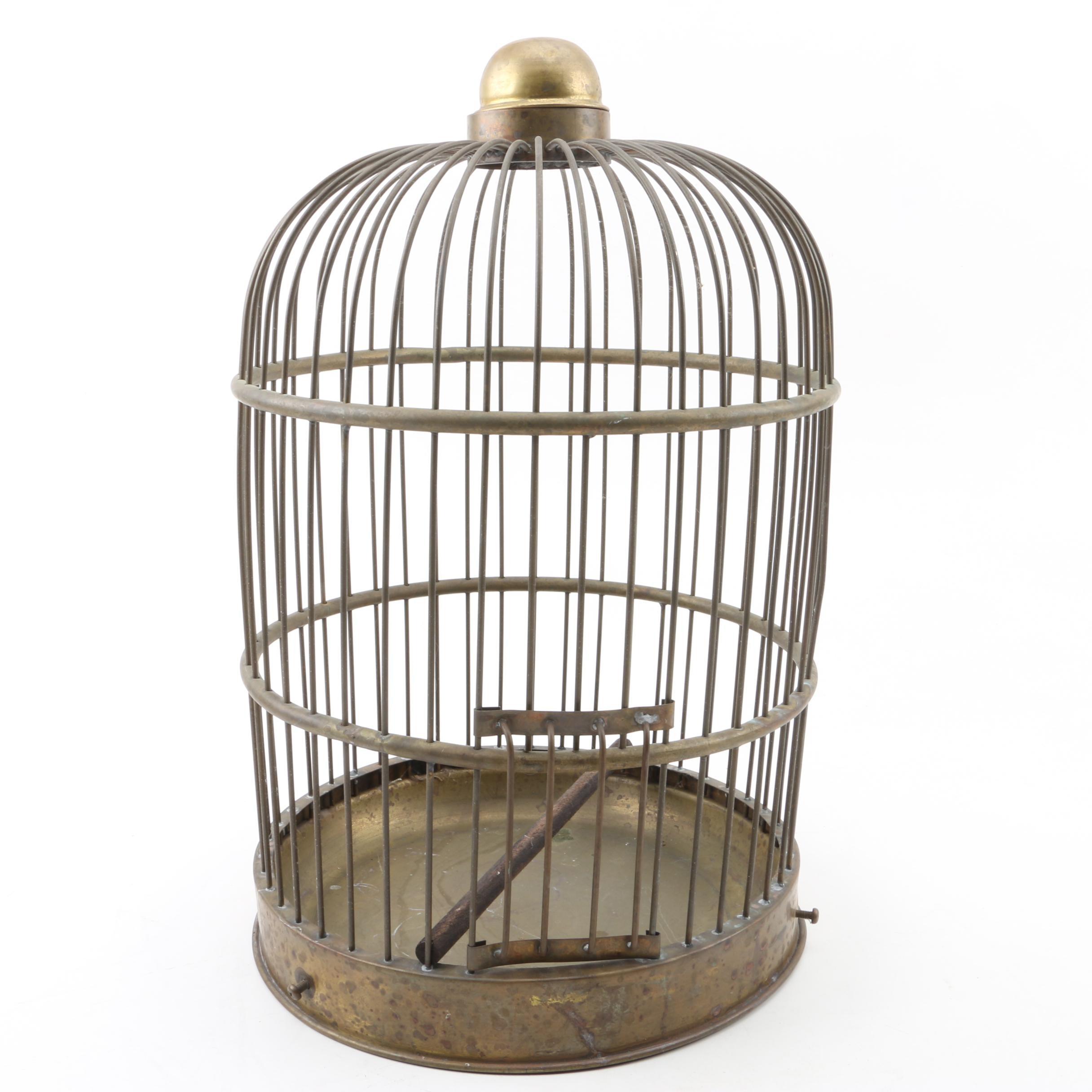 Brass Tone Metal Birdcage