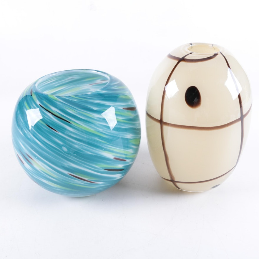 Pair Of Handmade Art Glass Vases Ebth