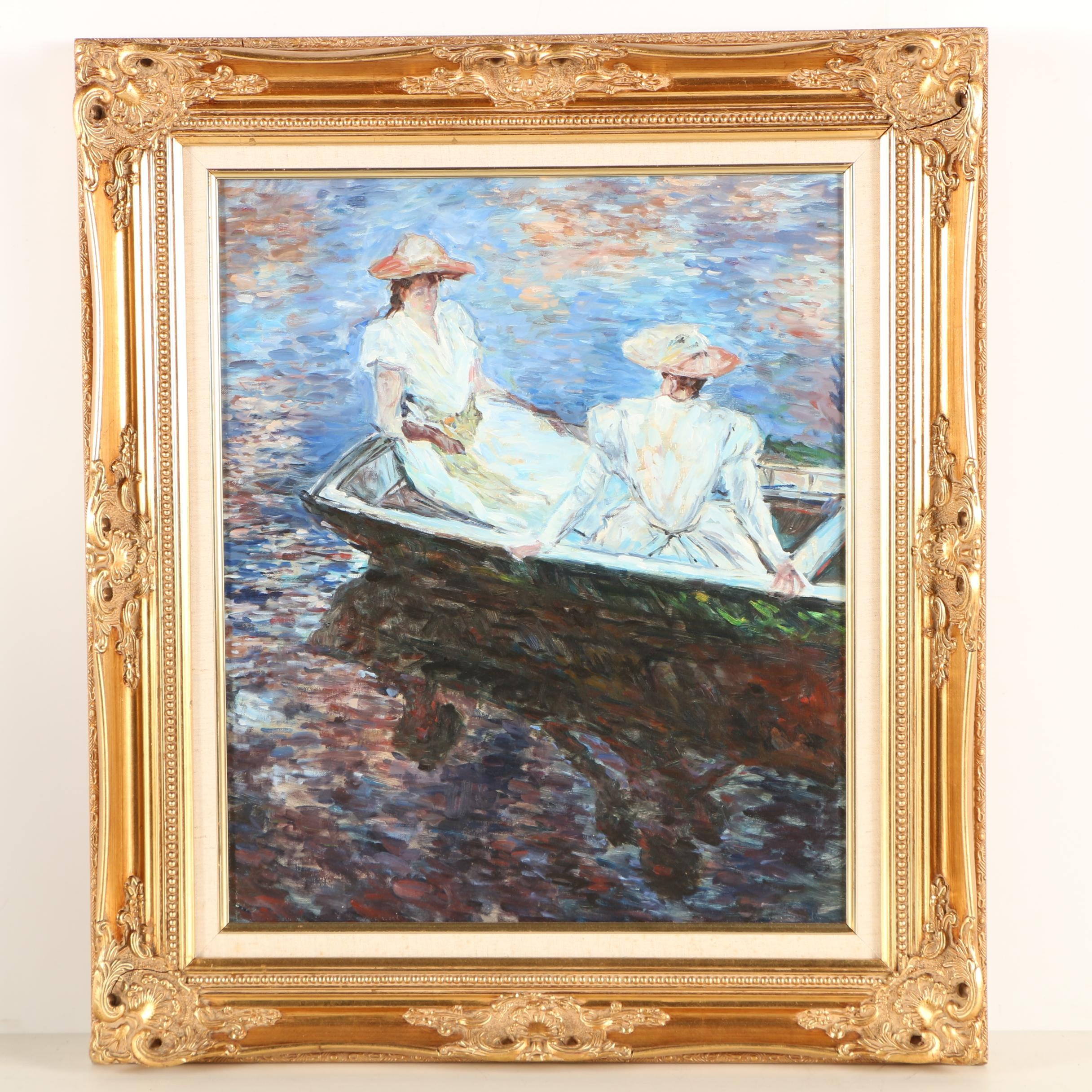 """Copy Oil Painting After Claude Monet """"On the Boat"""""""