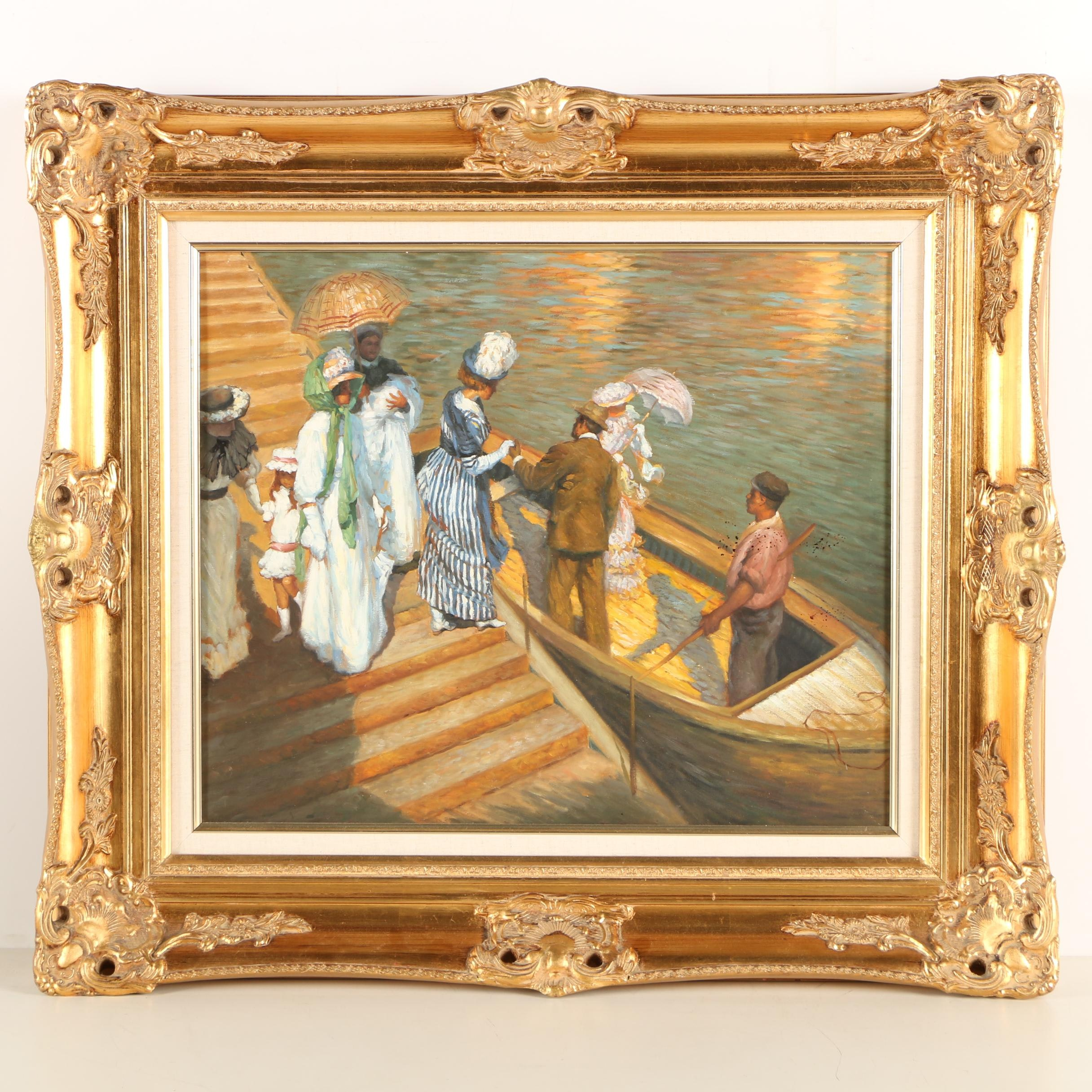 "Copy Oil Painting of E. Phillips Fox ""The Ferry"""