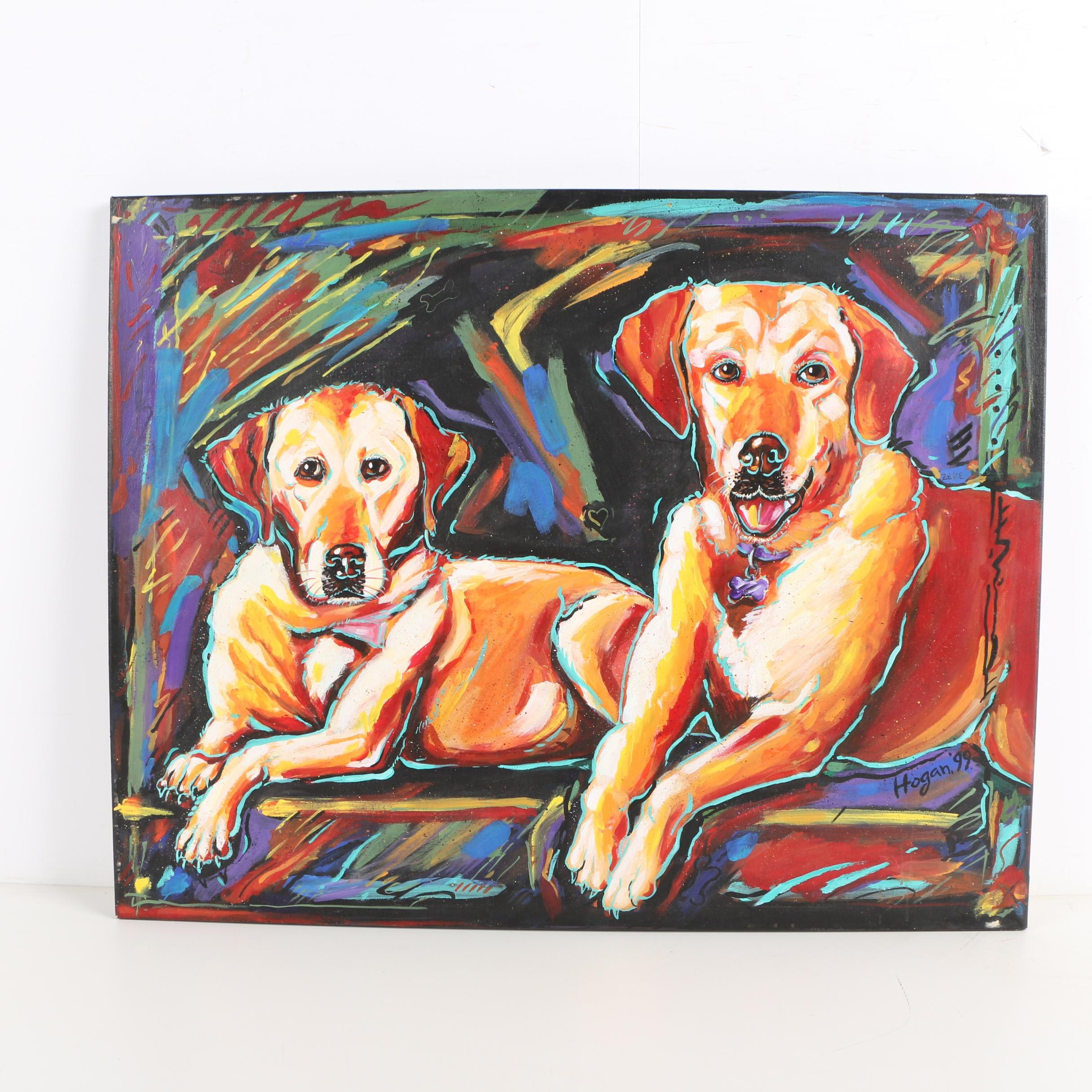 "1999 Barbara Hogan Acrylic Painting ""Zeke & Lindy"""