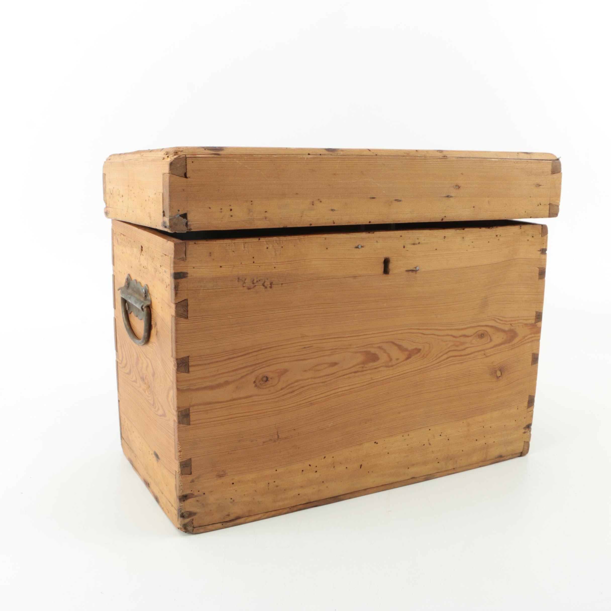 Antique Pine Wood Dovetailed Box with Key