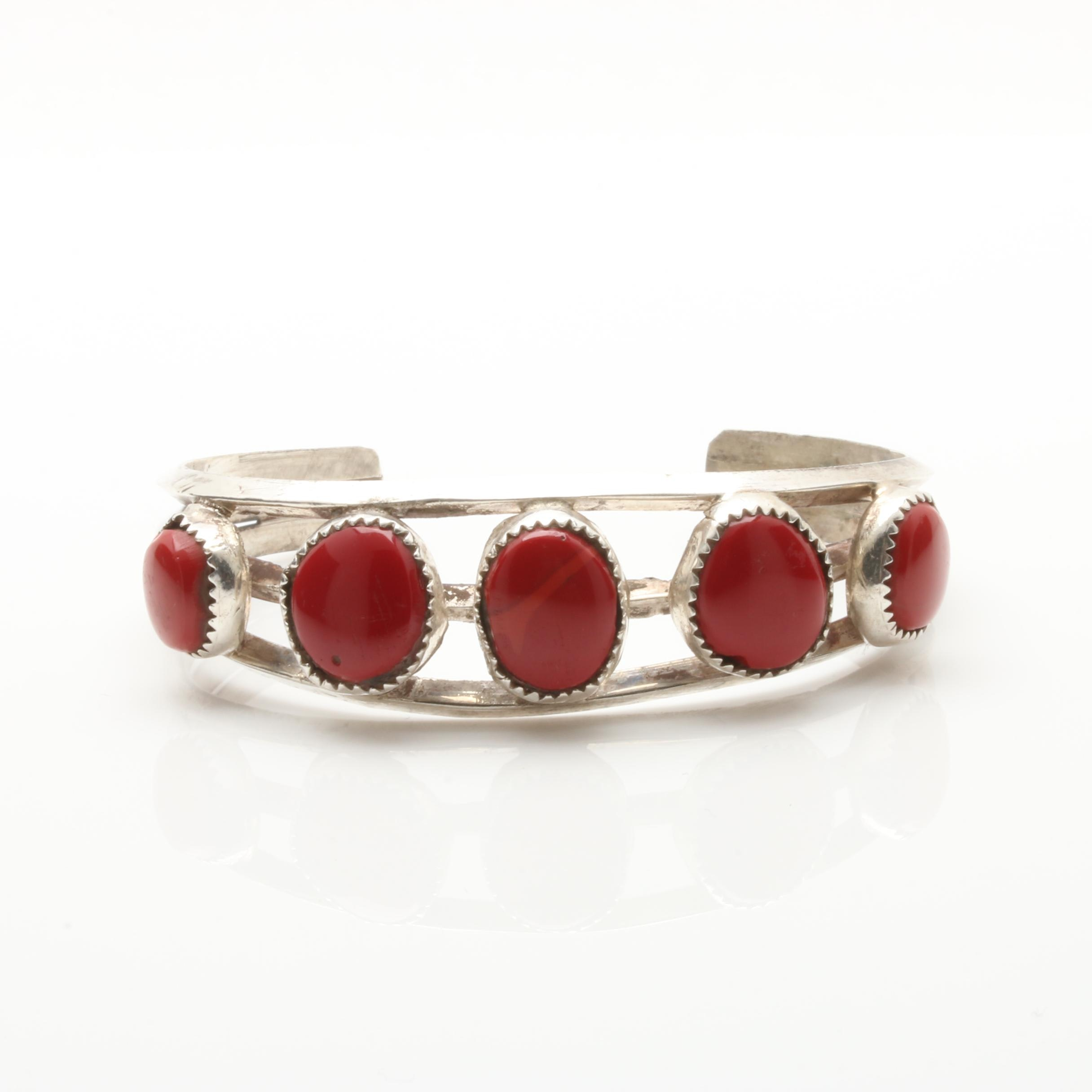 Sterling Silver Imitation Coral Cuff Bracelet