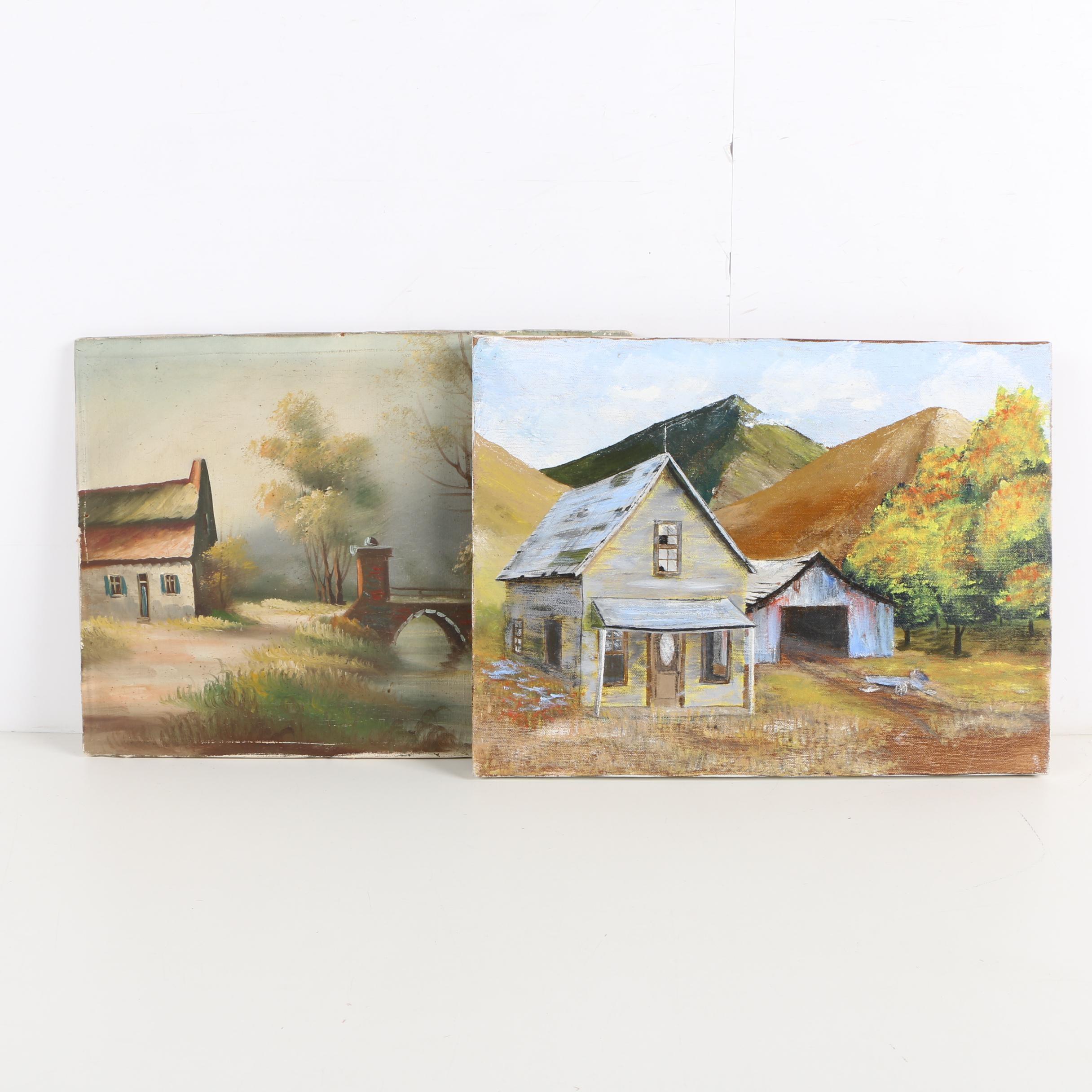 Oil Paintings of Rustic Houses