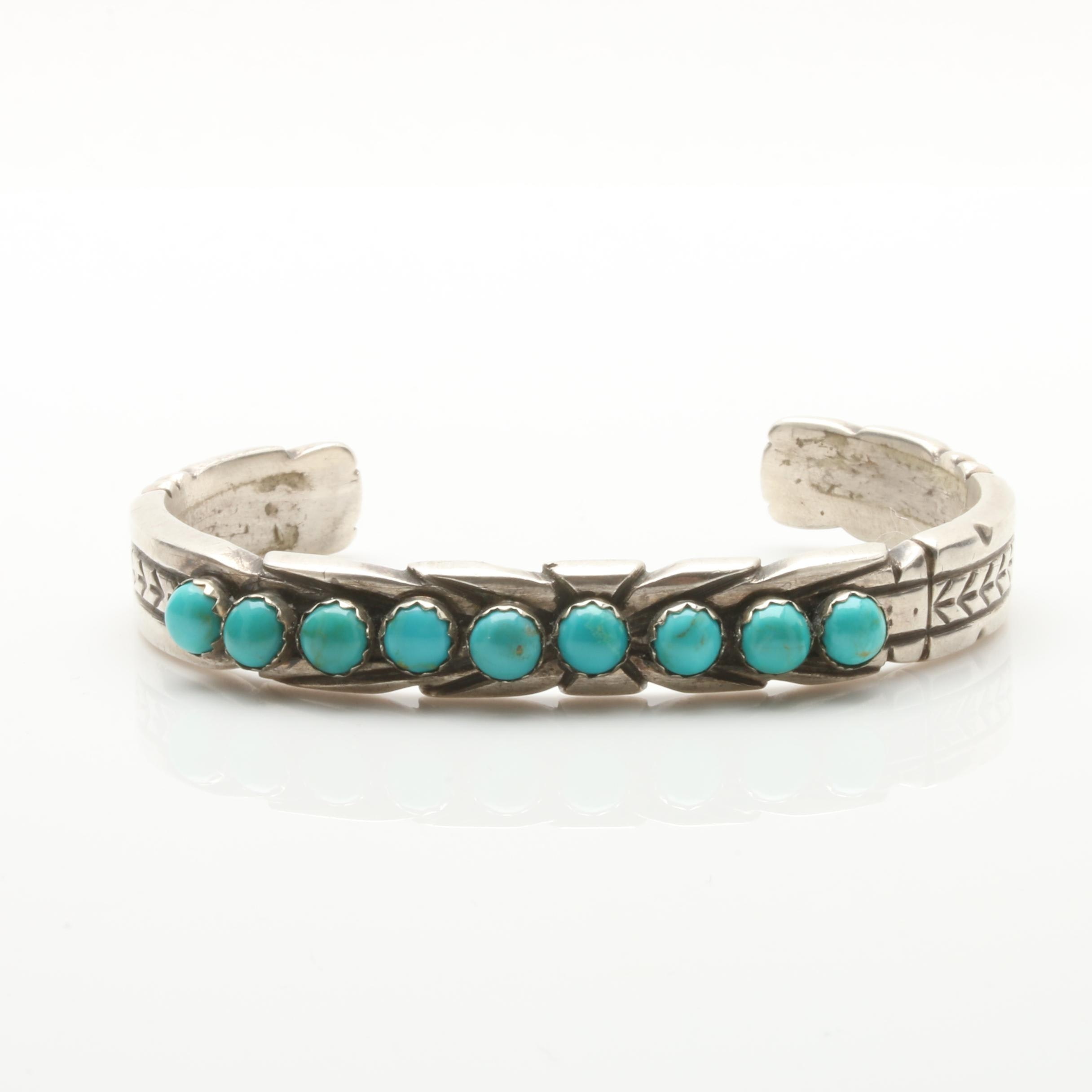 James Shay Navajo Diné Sterling Silver Turquoise Cuff Bracelet