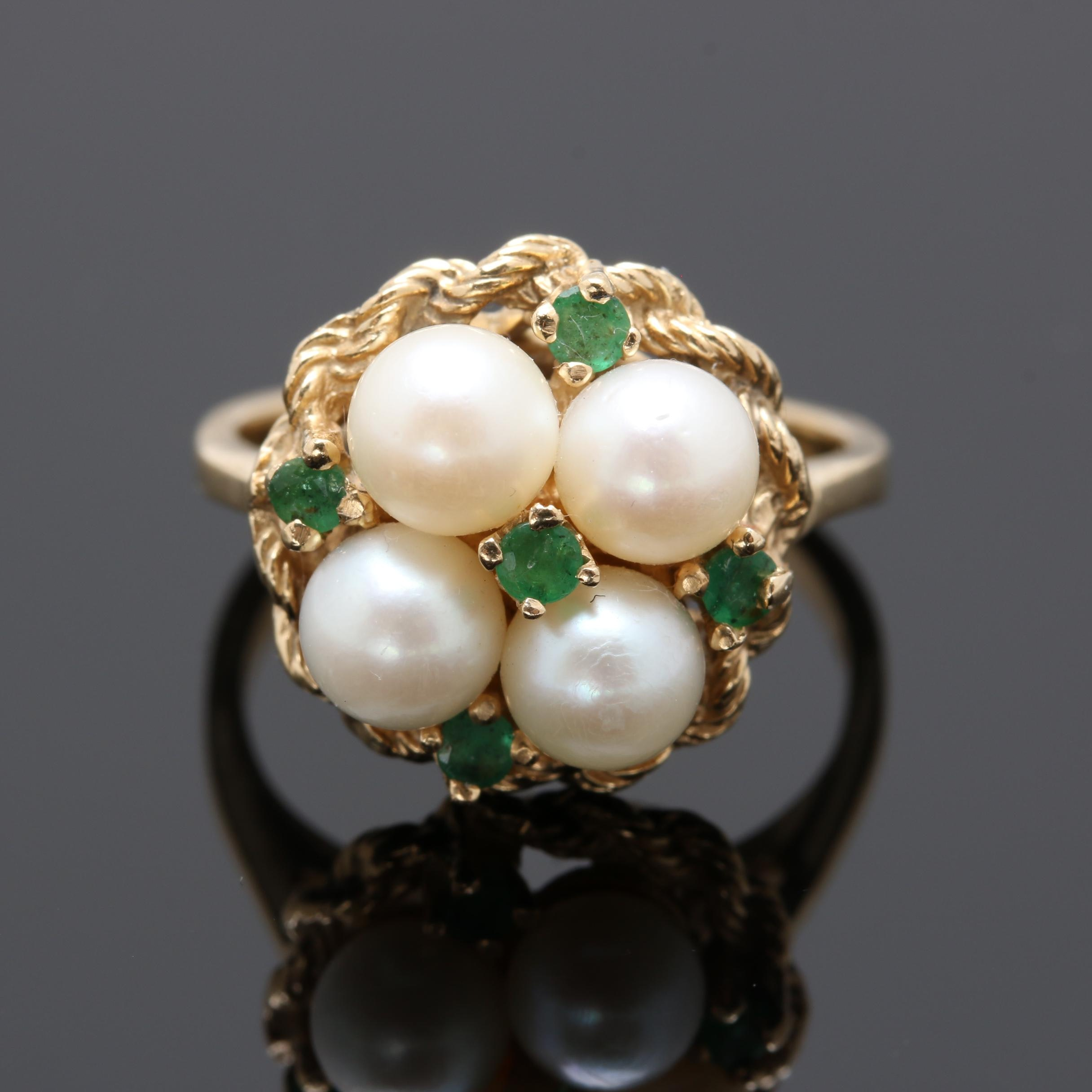14K Yellow Gold Cultured Pearl and Emerald Cluster Ring