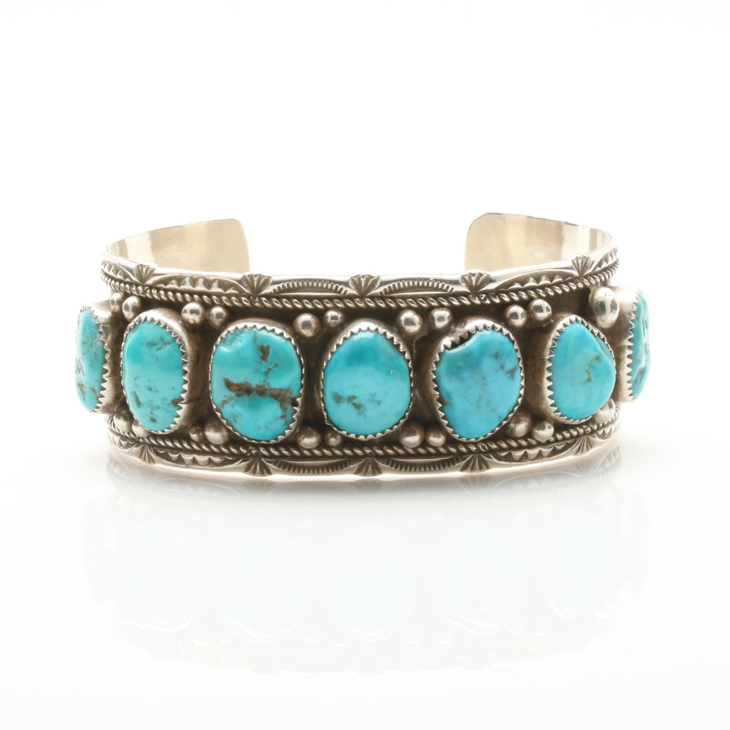 Melvin Thompson Navajo Diné Sterling Silver Turquoise Cuff Bracelet