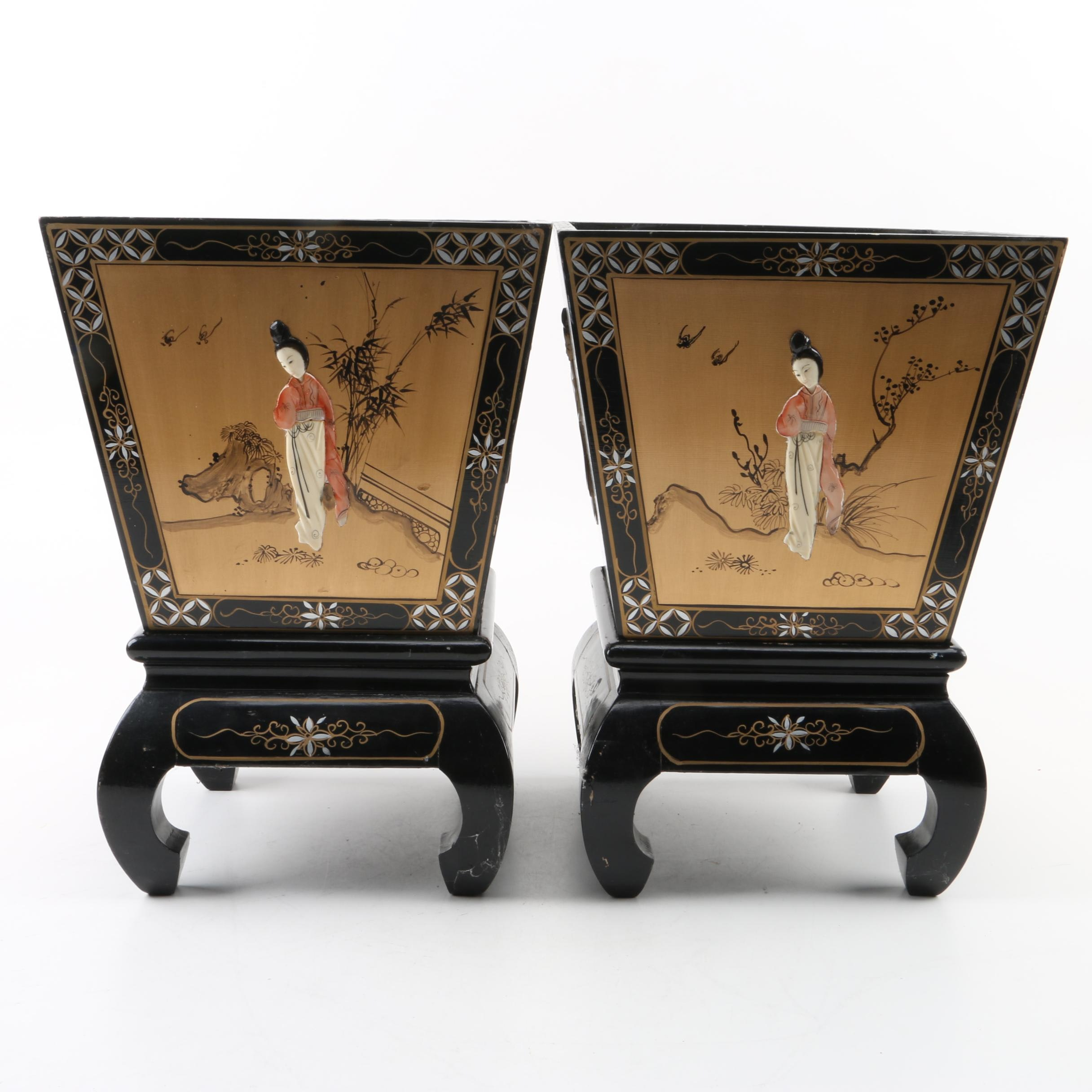 Pair of Hand-Painted Chinoiserie Wood Planters with Wood Stands