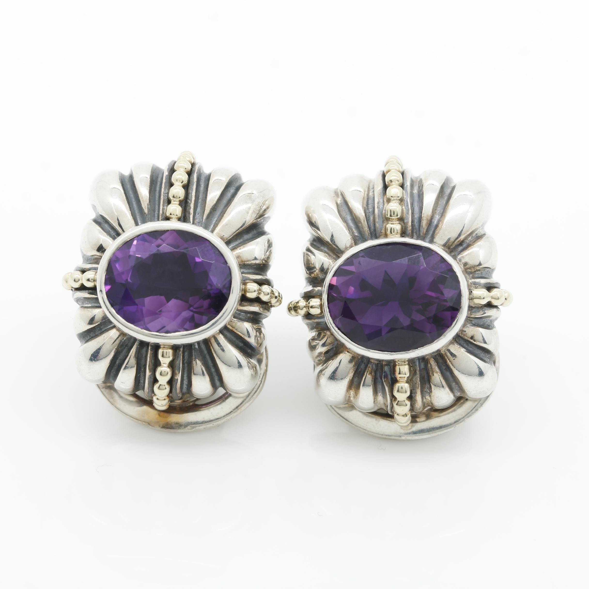 Lagos Caviar Sterling Silver and Gold Amethyst Earrings