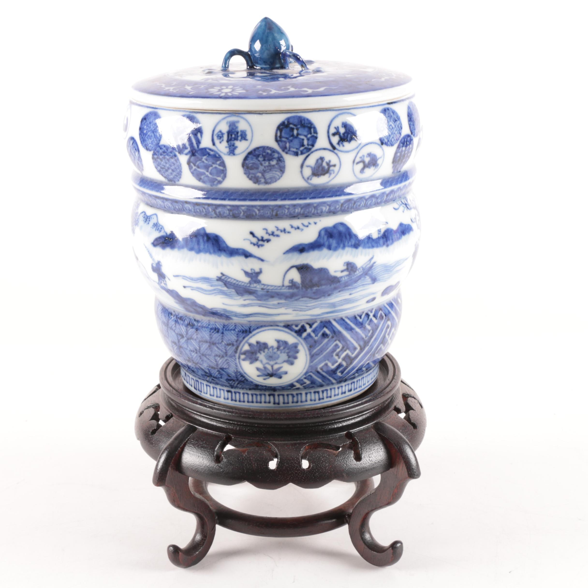 Ceramic Jar with Wooden Stand