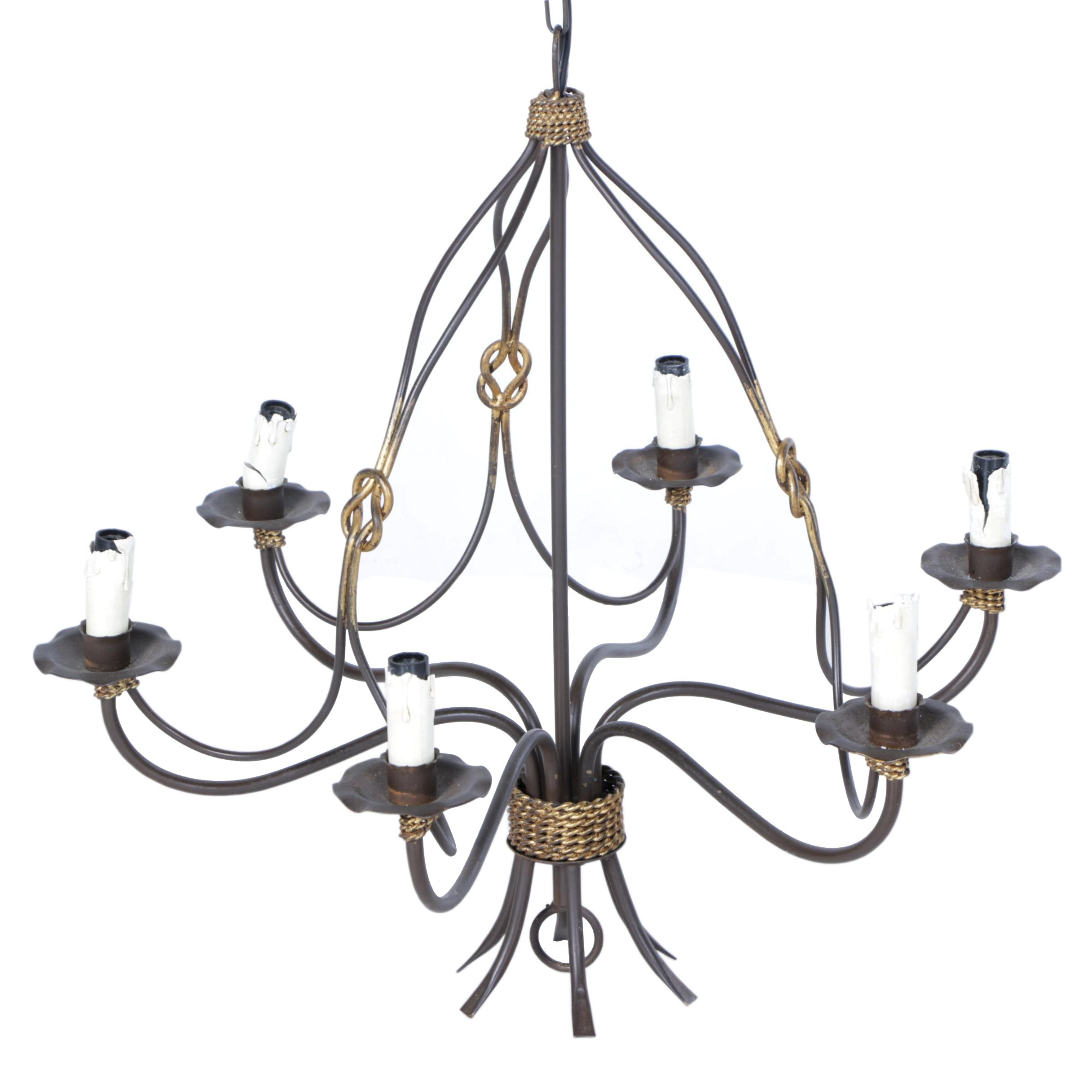Iron Bar Knotted Rustic Hanging Chandelier