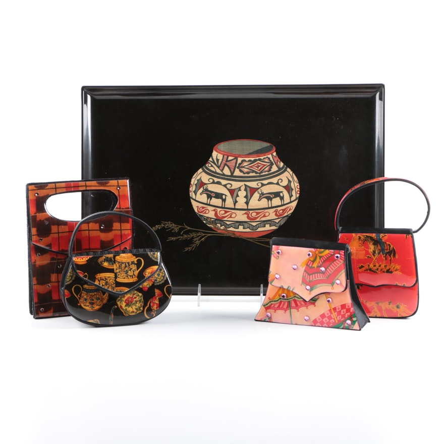 Angela Frascone Colorful Handbags And Vintage Couroc Southwest Style Tray