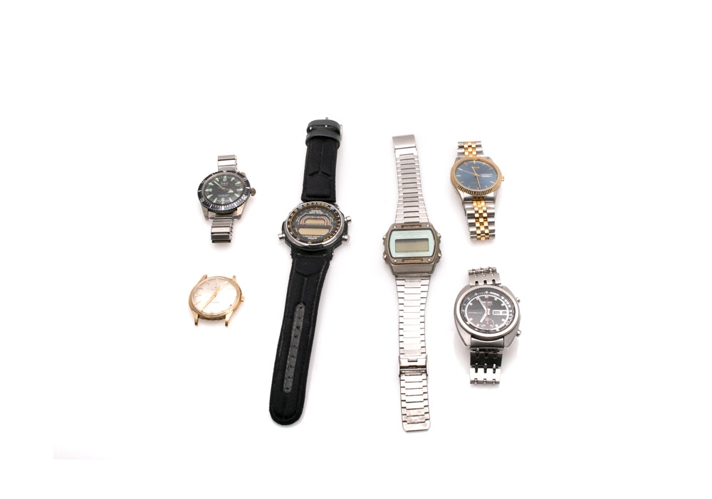 Digital and Analog Wristwatches Including Casio and Seiko
