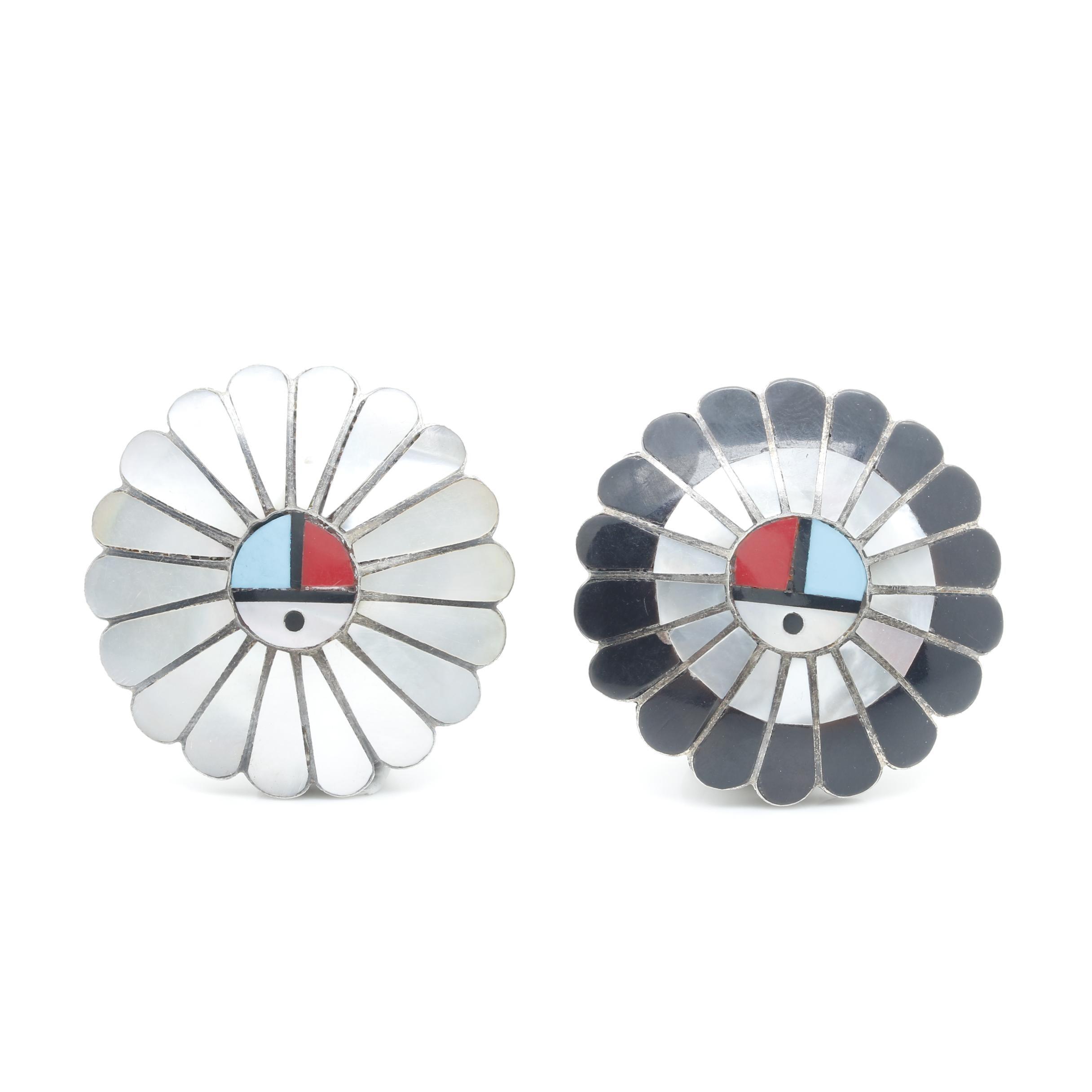 Larry & Lorinda Dickson Zuni Sterling Silver Mosaic Inlay Brooch Pendants