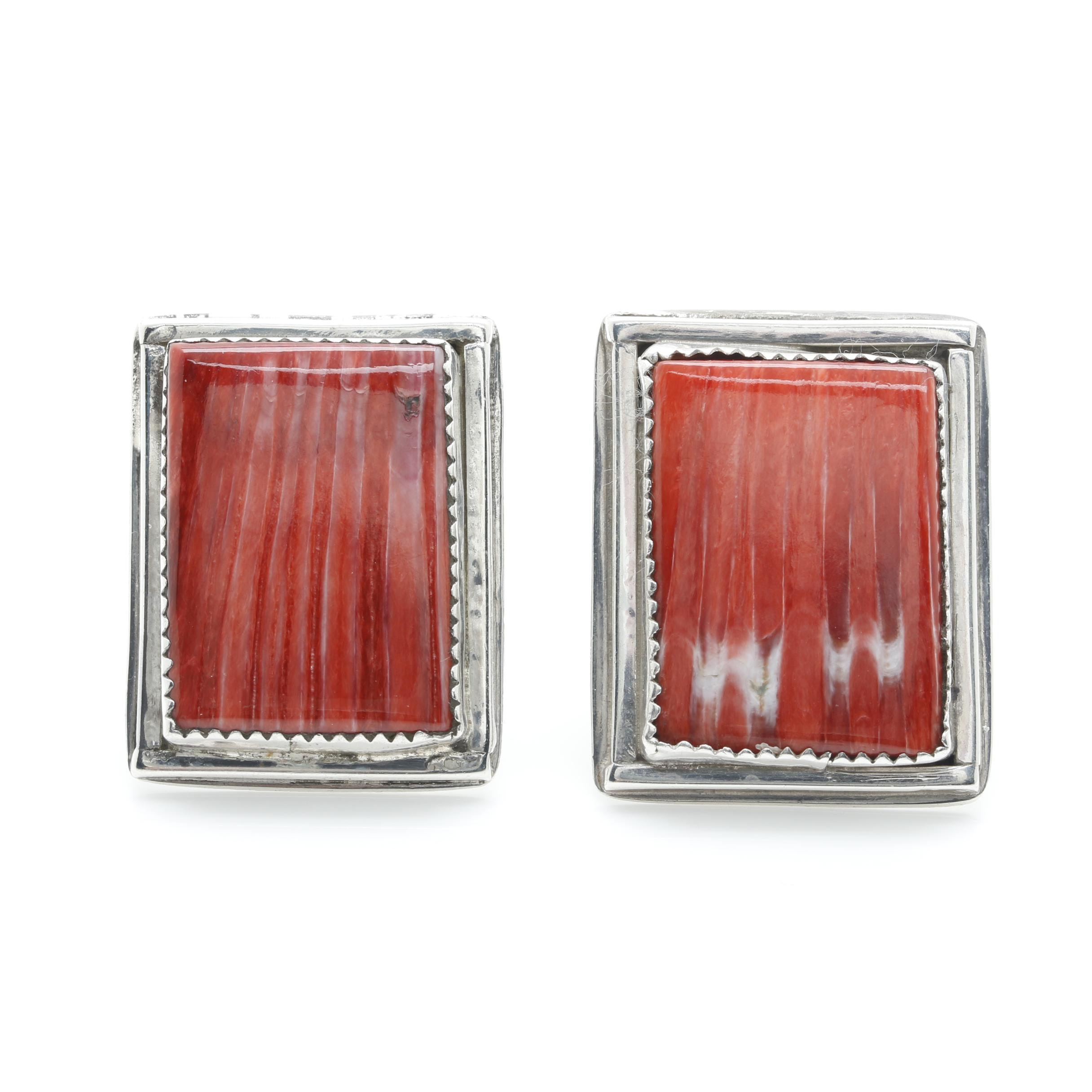 Southwestern Style Sterling Silver Spiny Oyster Earrings