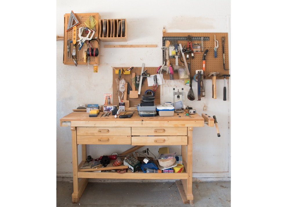 Wooden Work Bench with Vise and Large Assortment of Tools