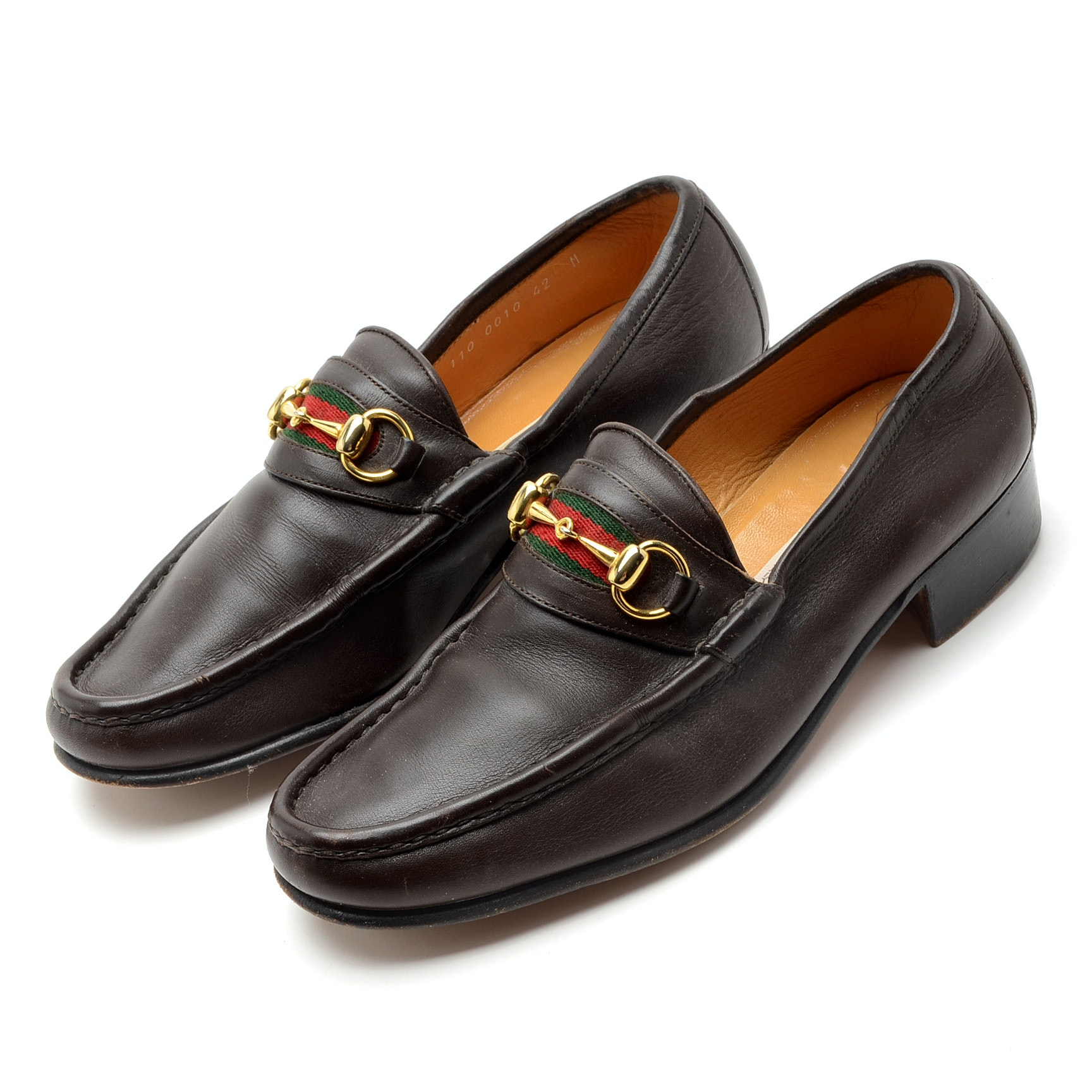 Men's Vintage Gucci Brown Leather Loafers with Green and Red Stripe Detailing