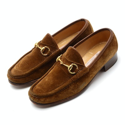 Men's Vintage Gucci Loafers in Cognac Suede with Gold Tone Horse Bit Hardware