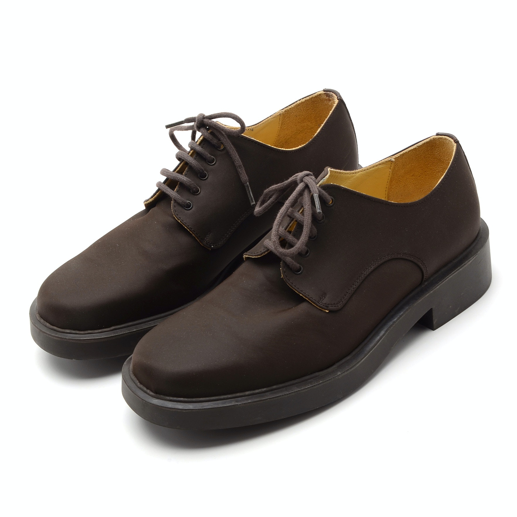 Kenzo Mens Lace-Up Oxfords in Brown Waterproof Nylon, Made in France
