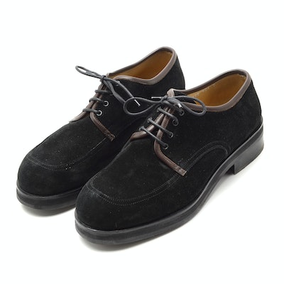 Men's Giorgio Armani Black Suede Lace-Up Shoes with Lug Soles