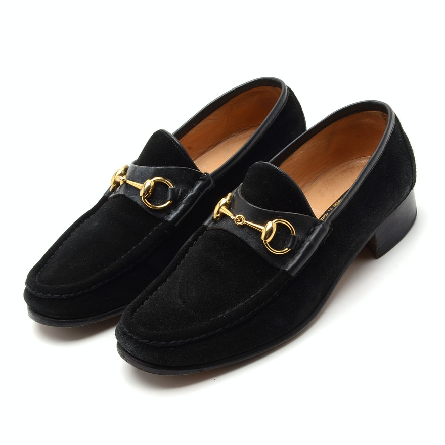 Men's Vintage Gucci Black Suede Loafers with Gold Tone Horse Bit Hardware