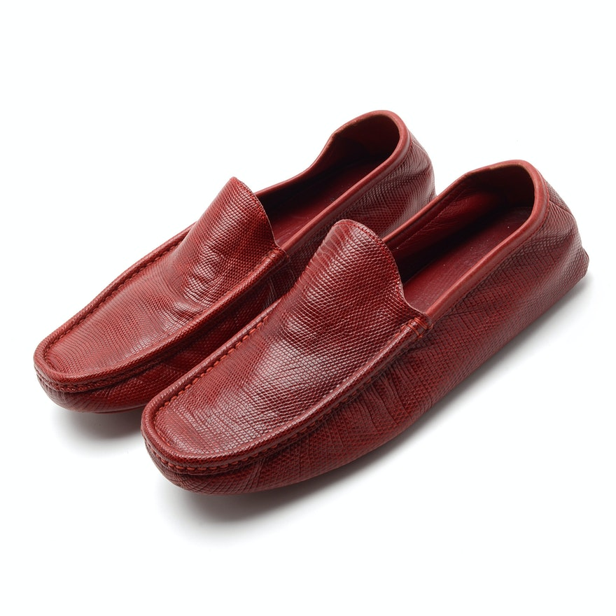 Men's Valentino Garavani Red Lizard Skin Driving Loafers, Made in Italy