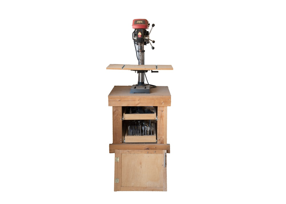"SKIL 10"" Benchtop Drill Press with Hand Crafted Wood Tool Chest"
