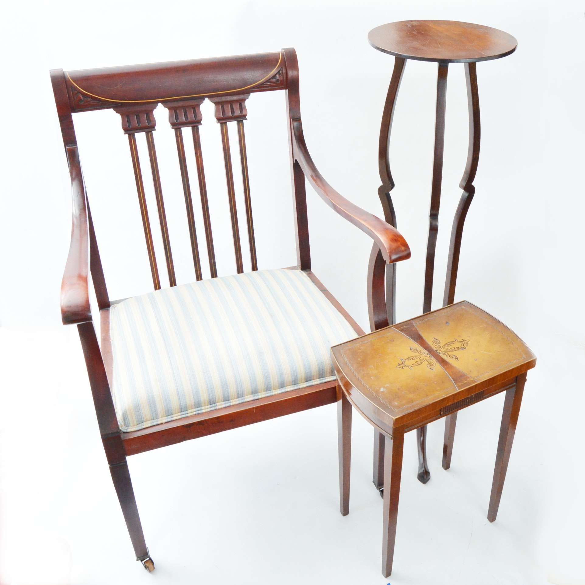 Neoclassic Style Chair, Side Table and Pedestal
