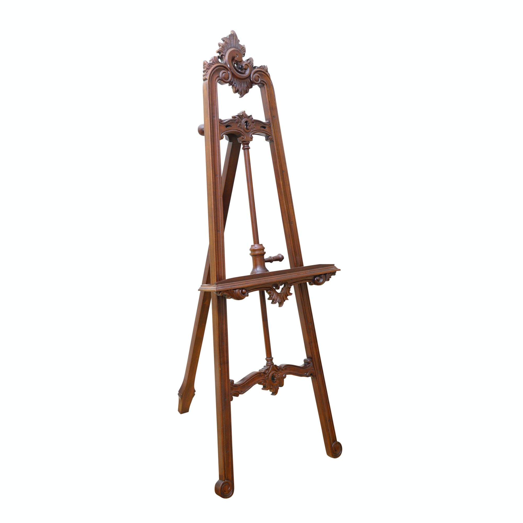 Mahogany Finished Carved Wood Display Easel