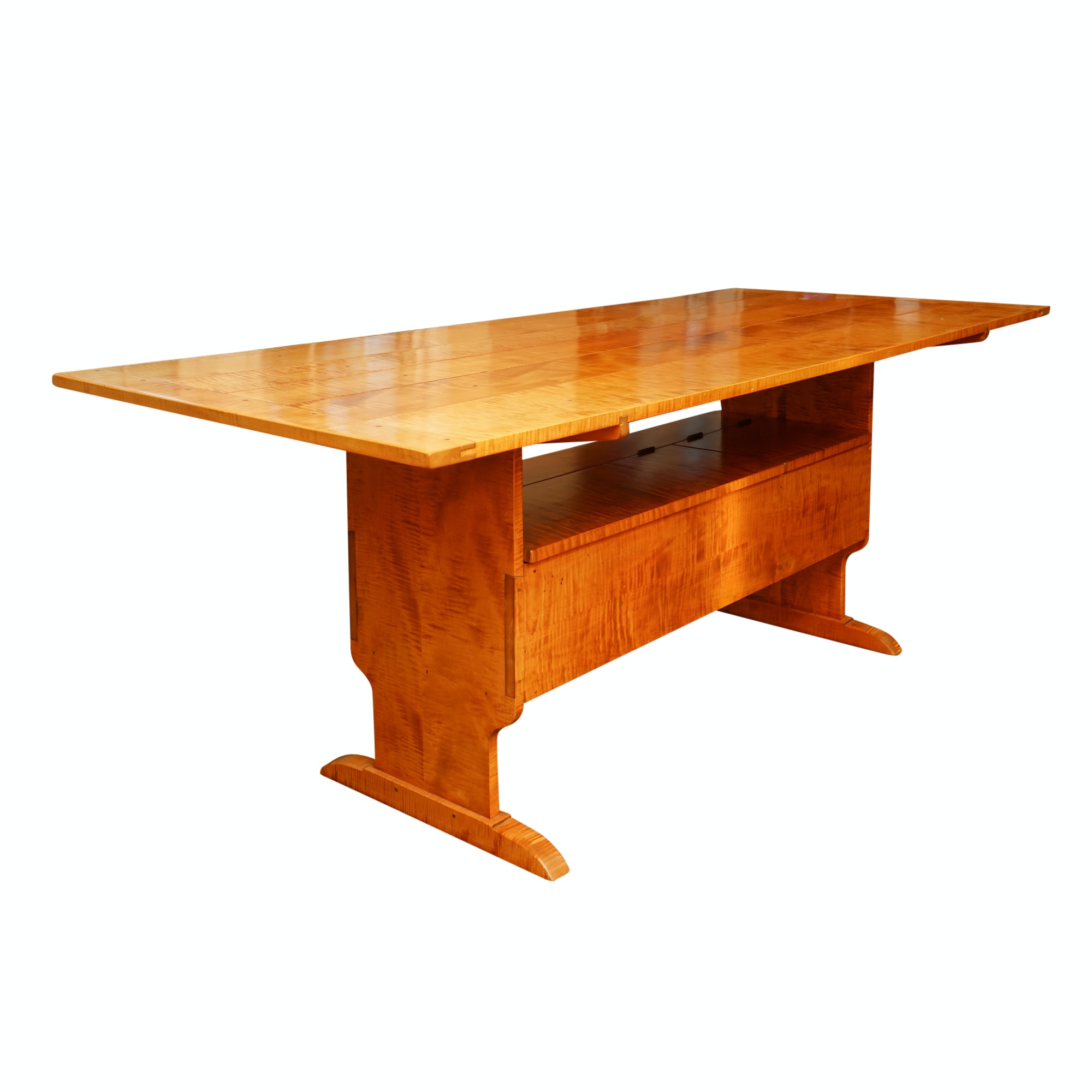 Hand-Crafted Tiger Maple Convertible Trestle Table with Storage Bench