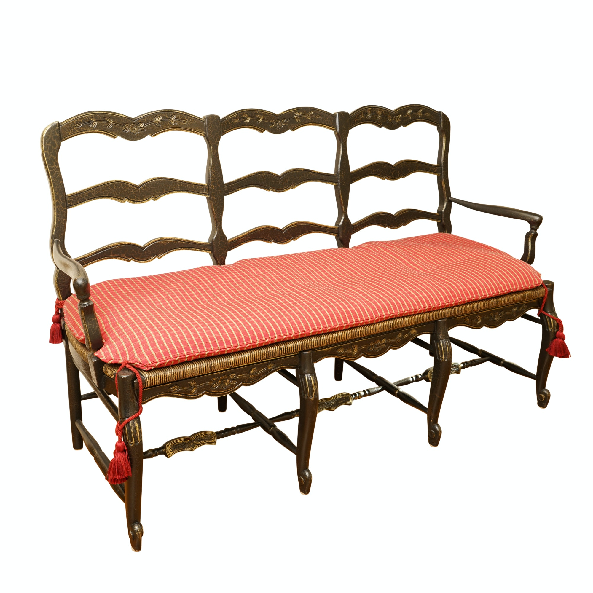 Louis XV Style Bench with Rush Seating