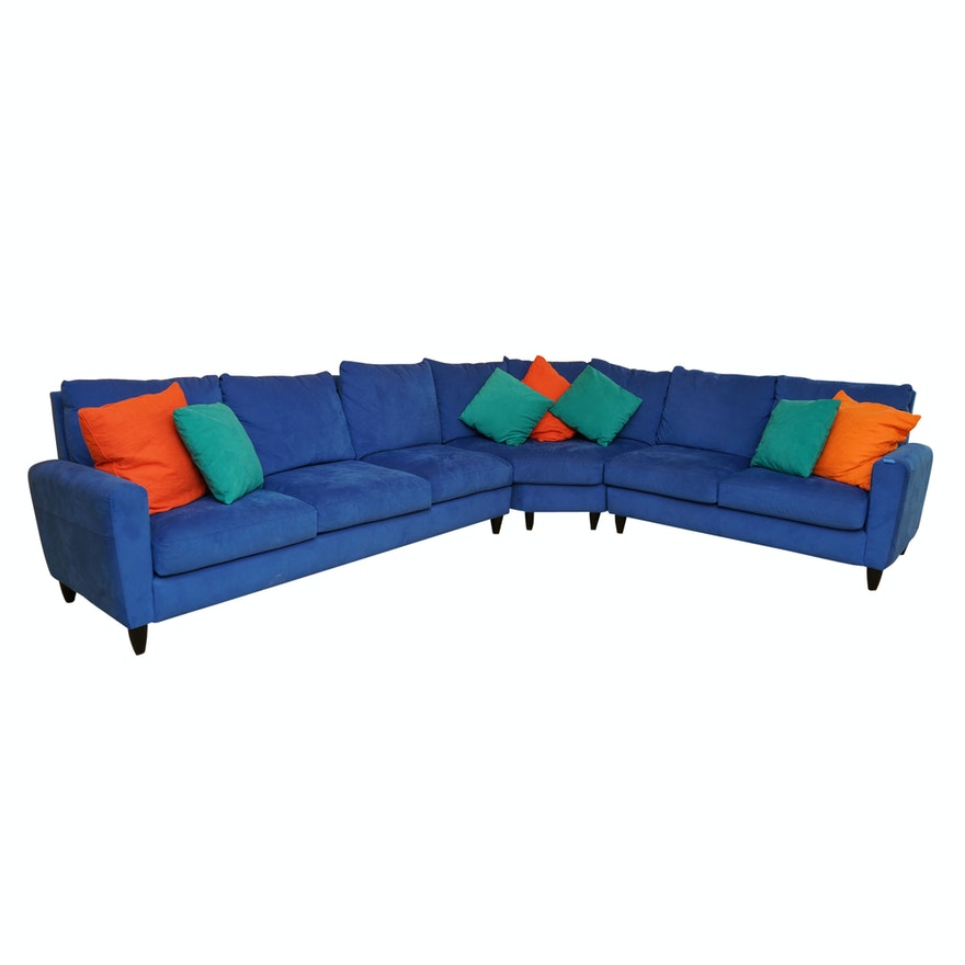 Blue Suede Sectional Sofa by American Leather : EBTH