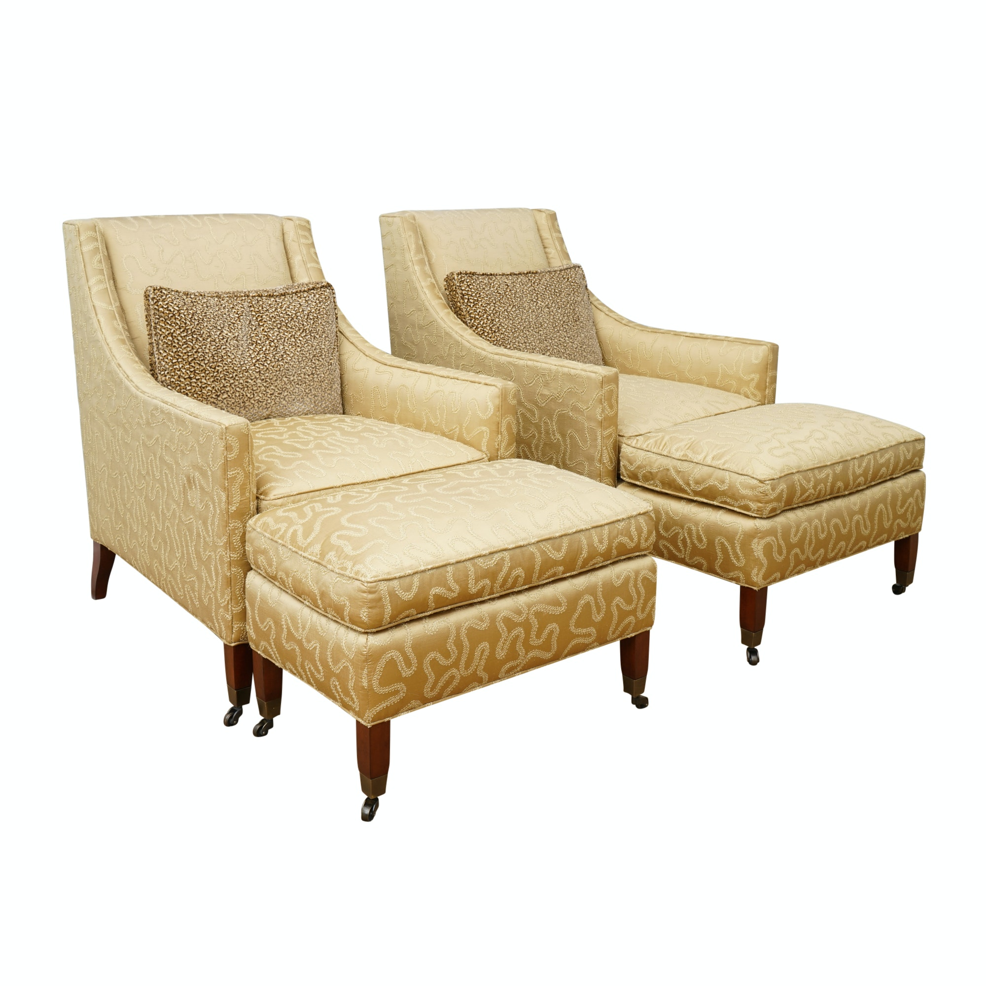 Pair of Mid Century Modern Style Armchairs and Ottomans by Duralee