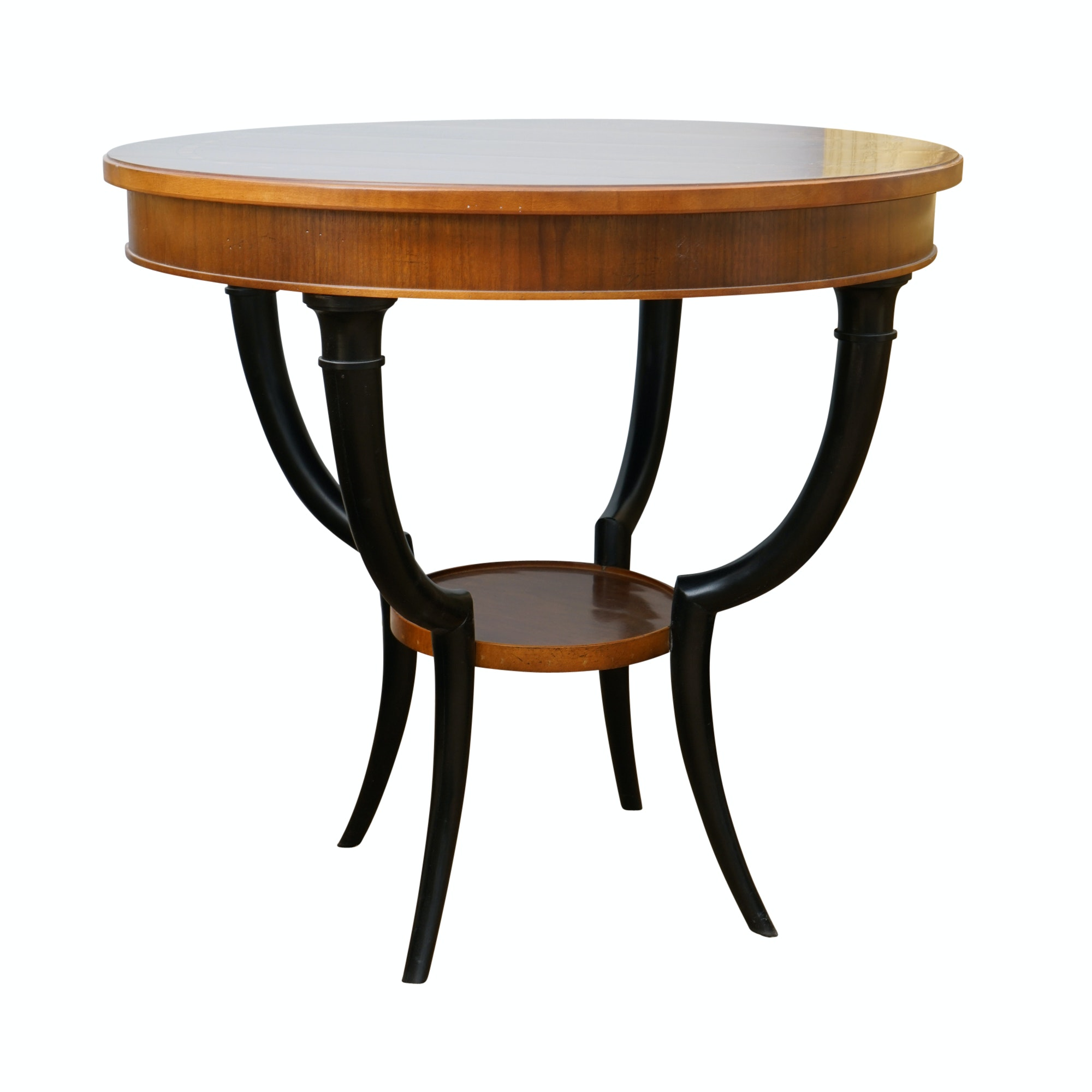 Inlaid Wood Drum Table by Baker
