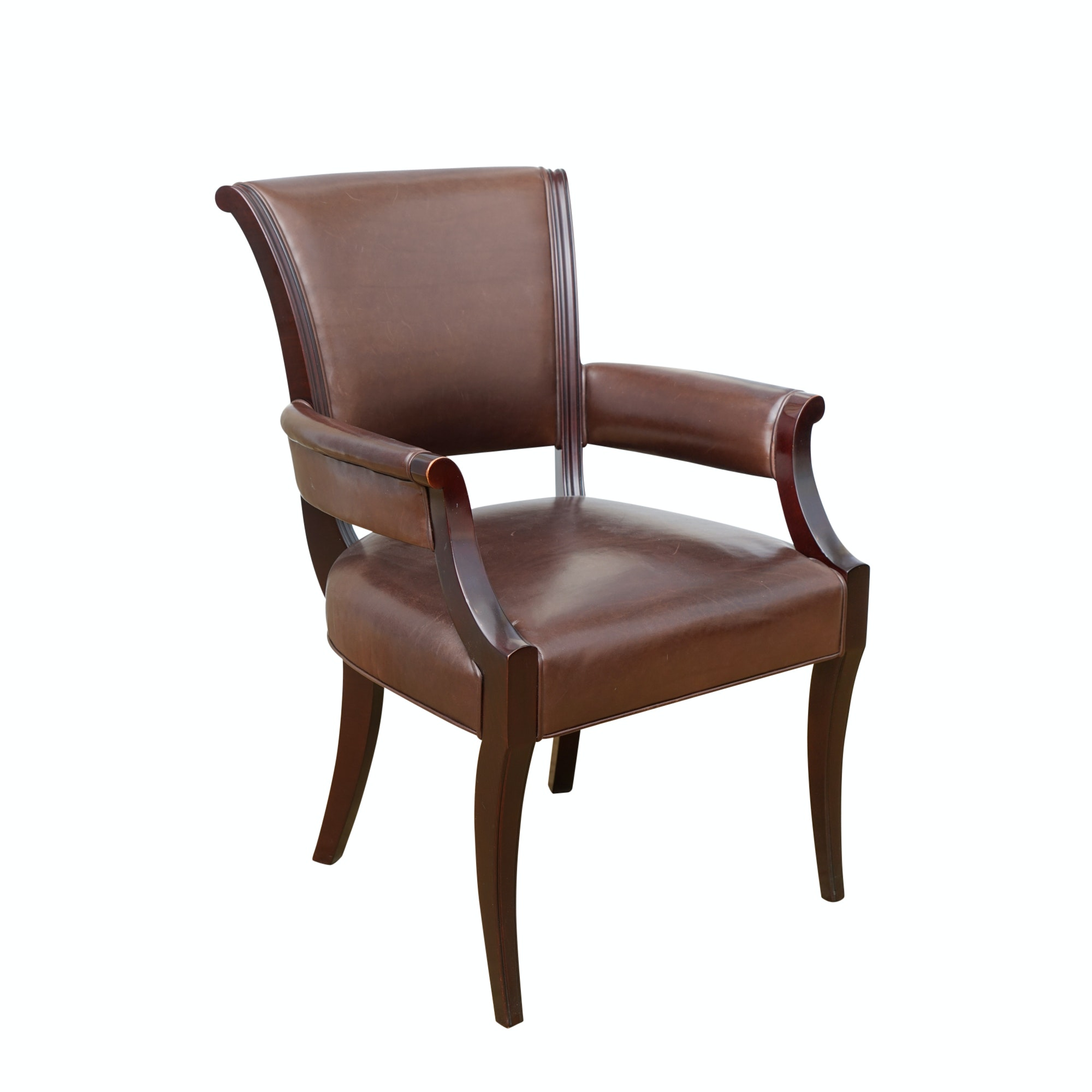 Armchair in Leather Upholstery from Barbara Barry Collection for Baker Furniture