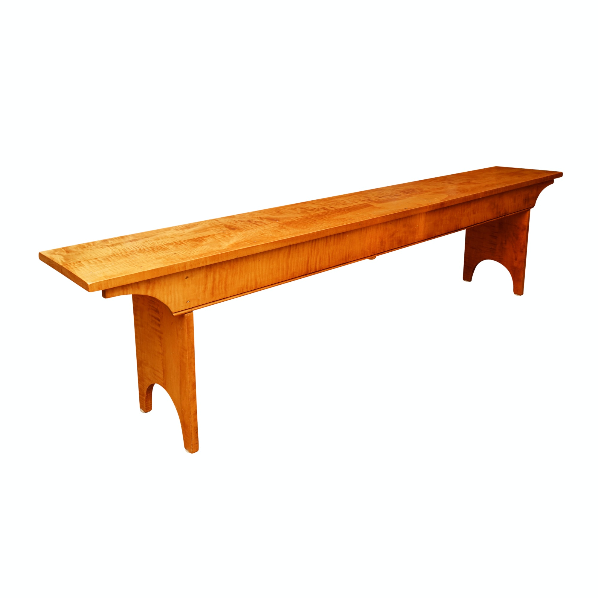 Contemporary Tiger Maple Bench
