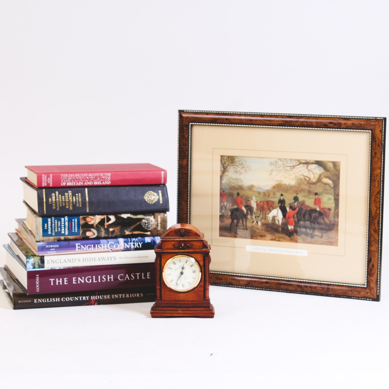 All Things English, Including Books, Hunting Offset Lithograph, and Clock