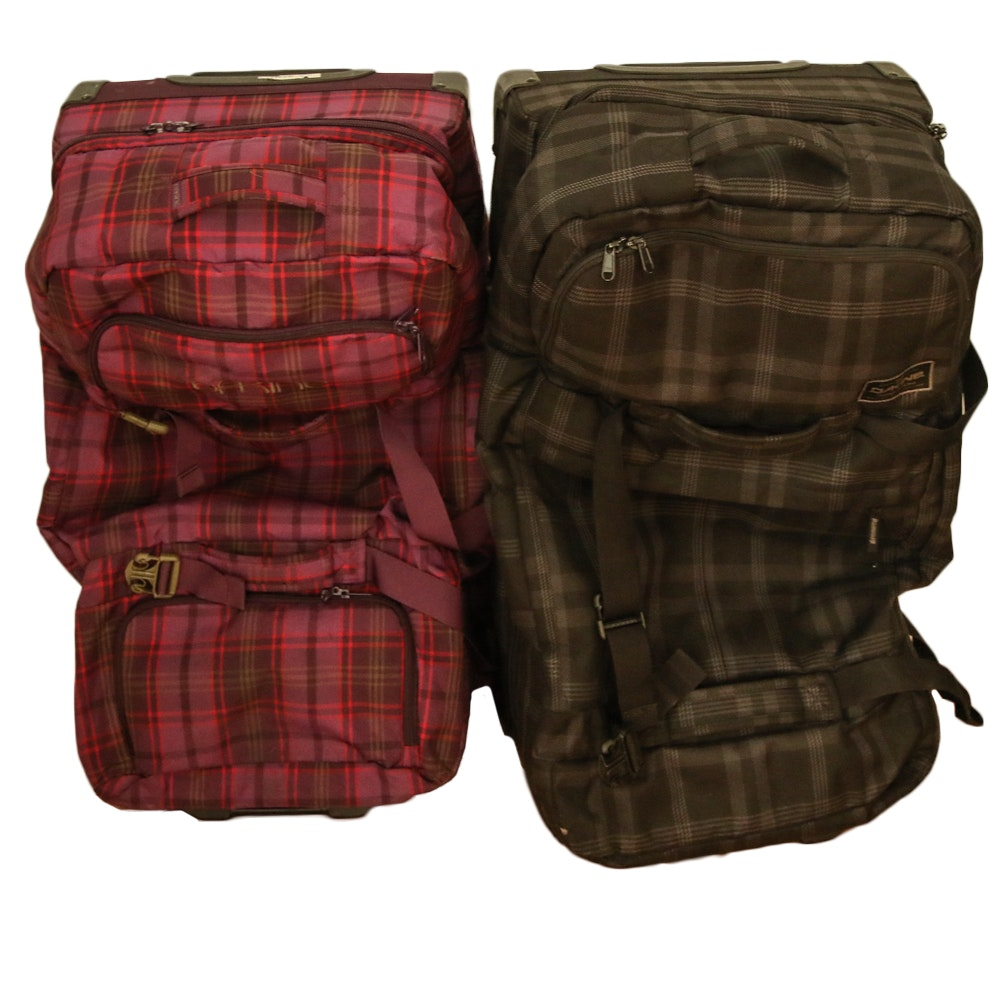 Dakine Split Roller Bags in Red and Brown Plaid