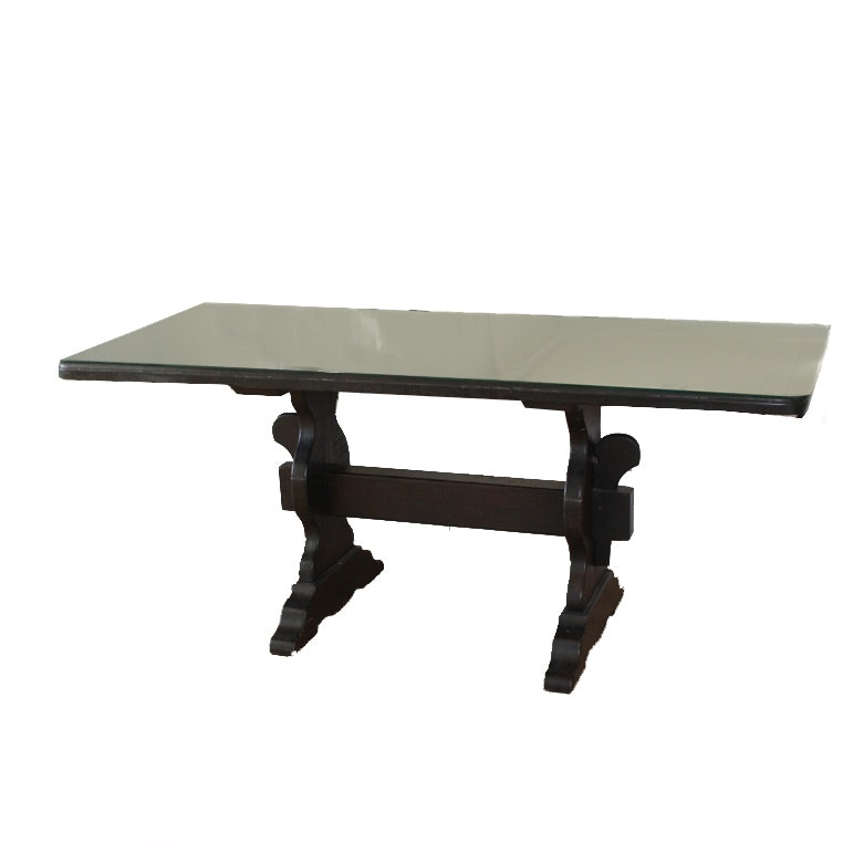 Ebony Stained Pine Trestle Dining Table with Glass Top
