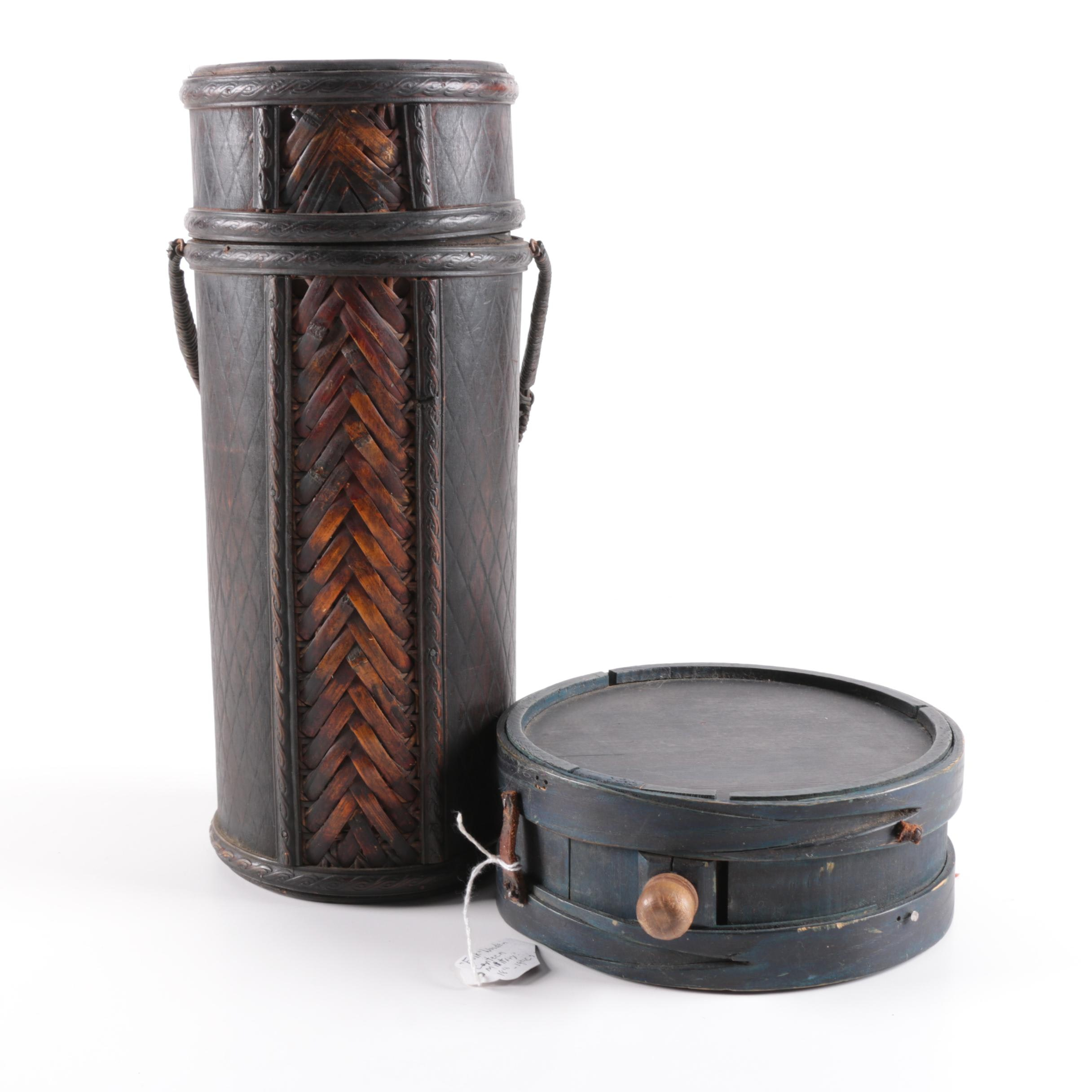 Antique Wooden Drum Canteen with Leather Bottle Canister