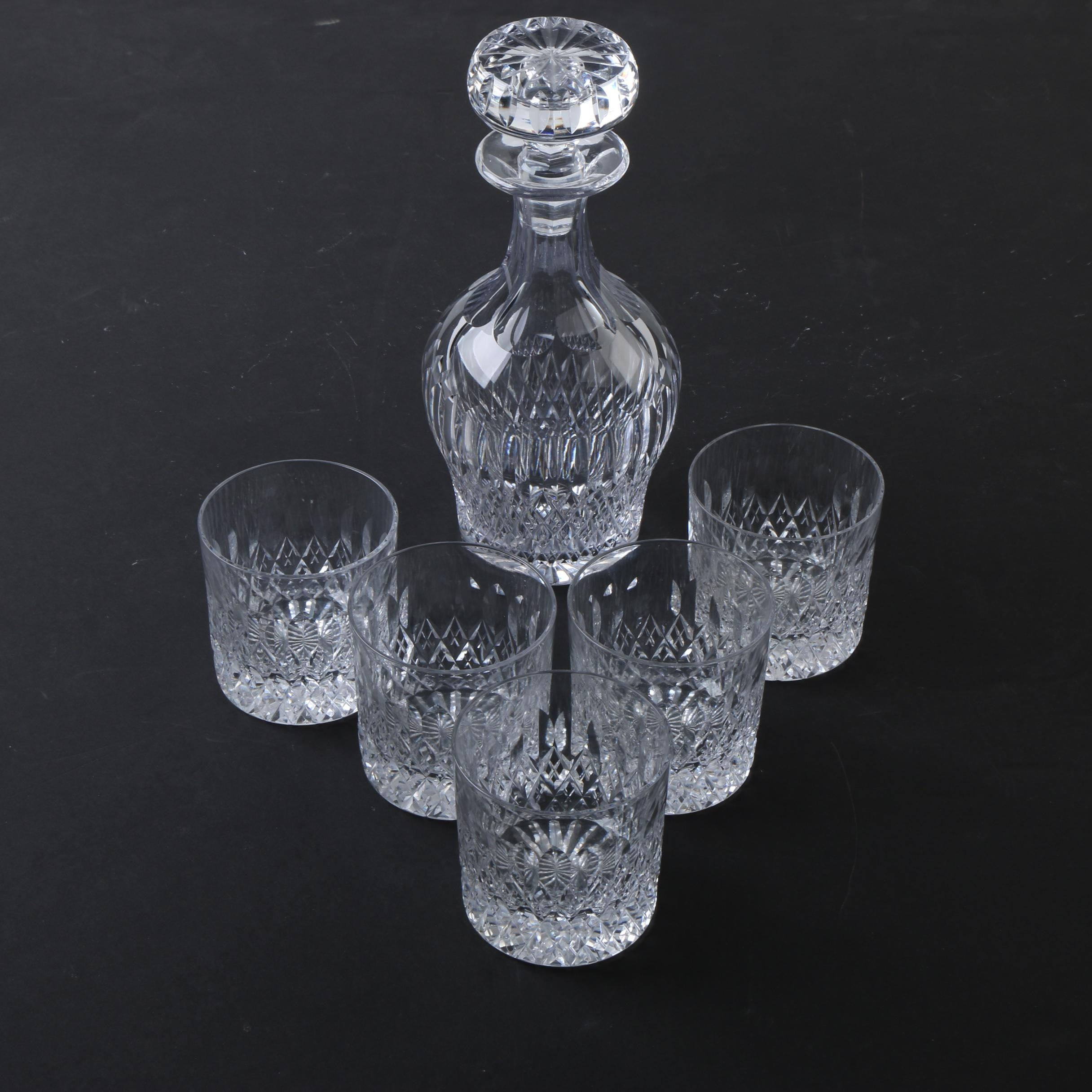 Tudor Pressed Crystal Decanter And Five Rocks Glasses